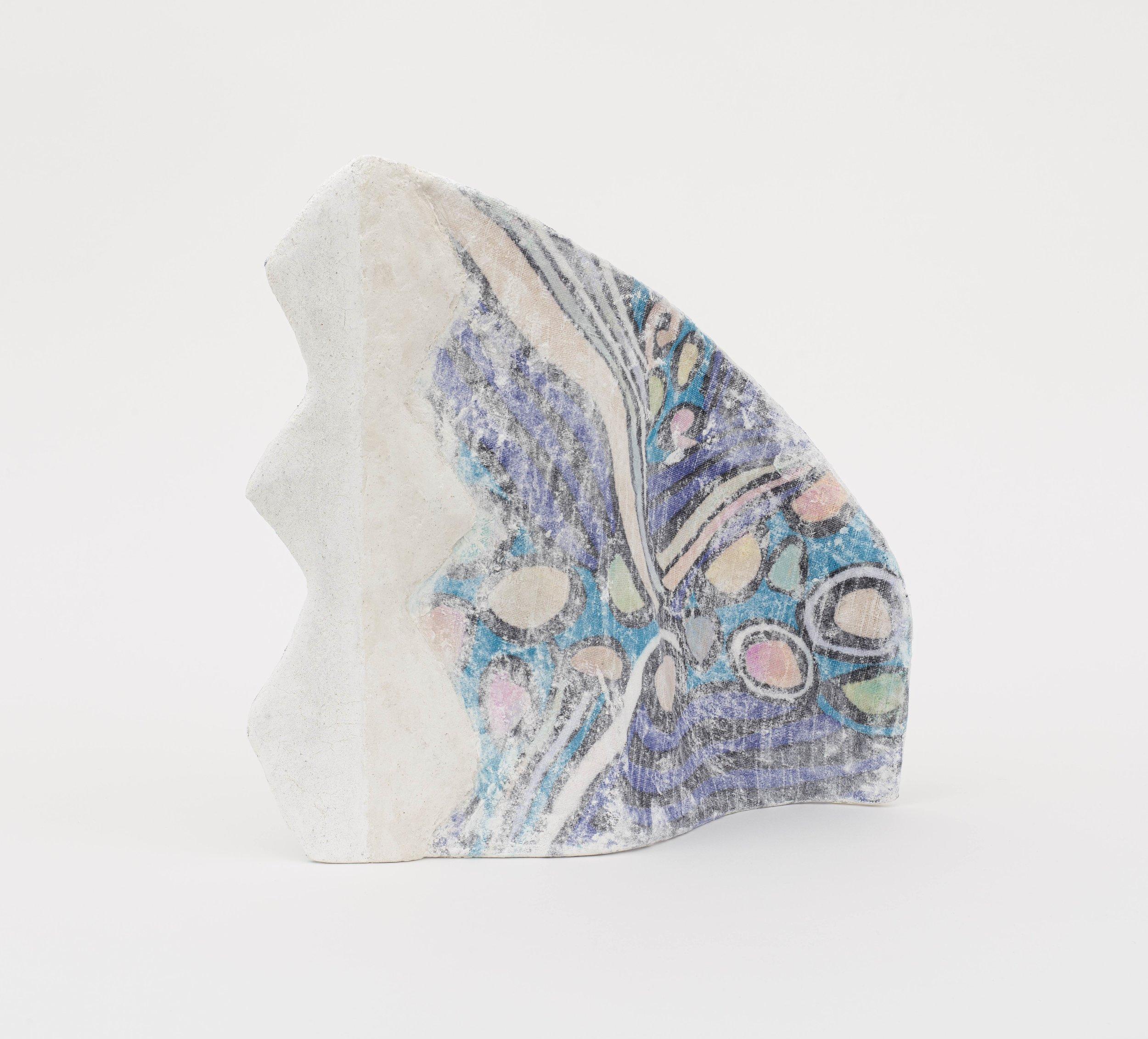 Jennifer Paige Cohen,  Phoenix Feather , 2019. Skirt, plaster, lime plaster, CelluClay, pigment. 13.5 x 13 x 5 inches. 34.3 x 33 x 12.7 cm.