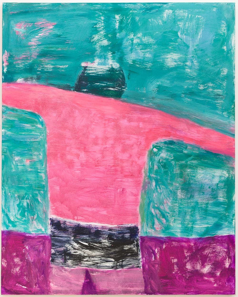 "Katherine Bradford,  Swimmer Racer , 2018. Acrylic on canvas. 60 x 48"" 152.4 x 121.9 cm"