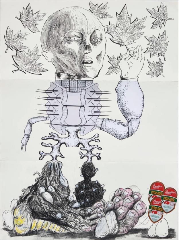 "Josh Mannis, Erik Frydenborg, Sam Davis, Exquisite Corpse, 2019. Ink, charcoal, colored pencil, laser print, and collage on Stonehenge paper. 30 x 22"" 76.2 x 55.88 cm"