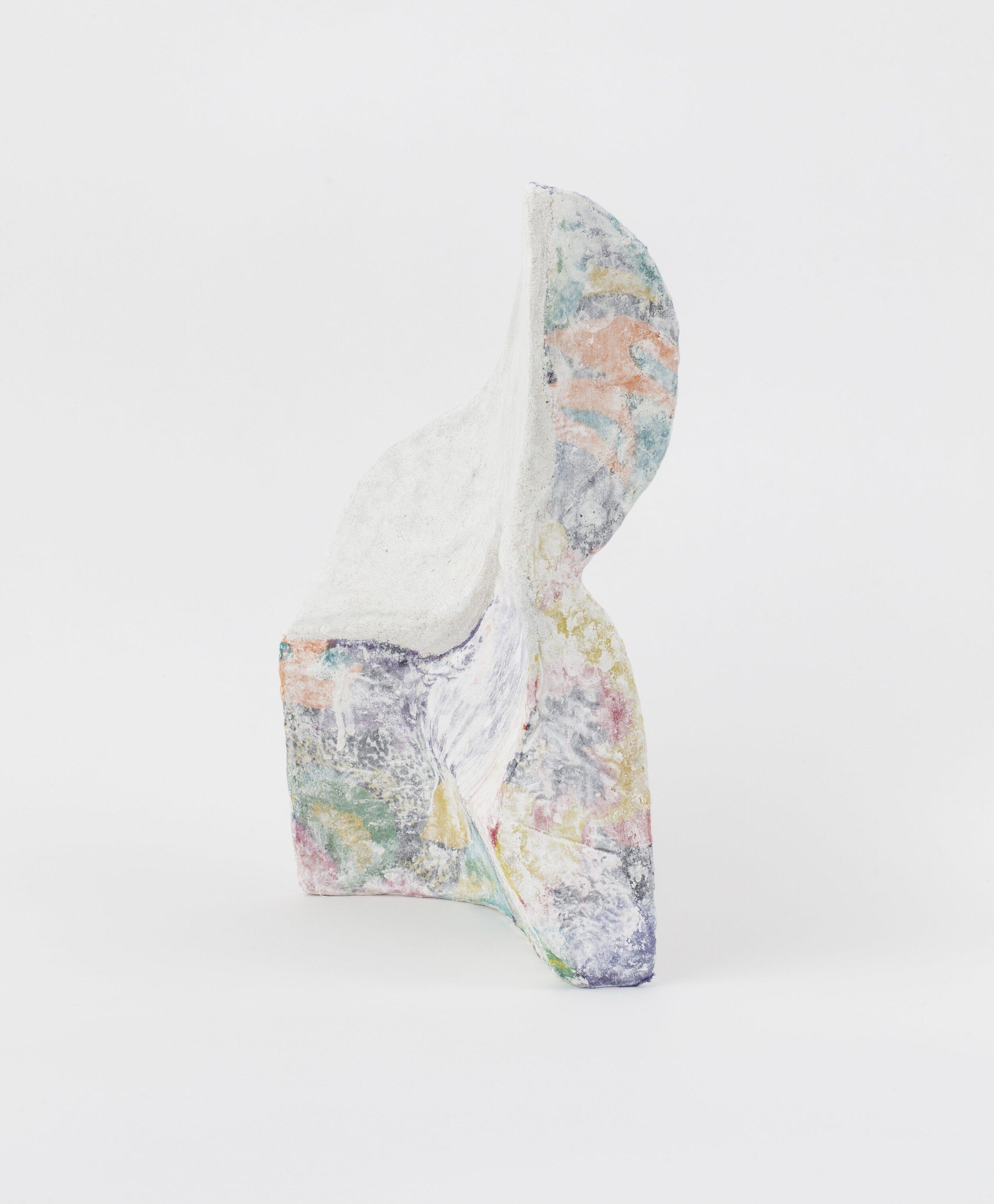 Jennifer Paige Cohen,    Painted Fern,  2019. Skirt, plaster, lime plaster. 14 x 10 x 5.5 inches. 35.6 x 25.4 x 14 cm.