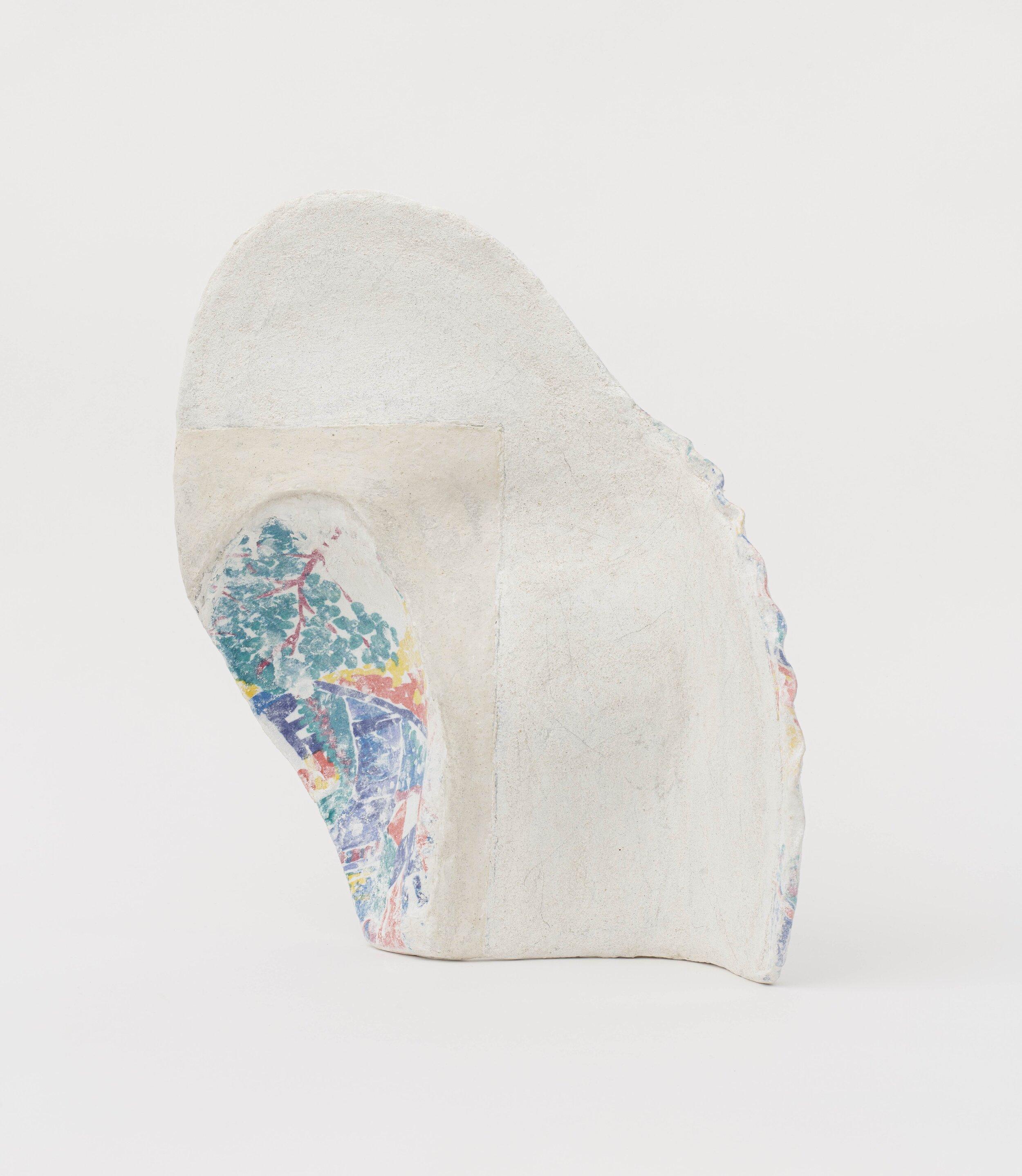 Jennifer Paige Cohen,  Curve with Interior Landscape,  2019. Dress, plaster, lime plaster, CelluClay. 16.5 x 12 x 14 inches. 41.9 x 30.5 x 35.6 cm.