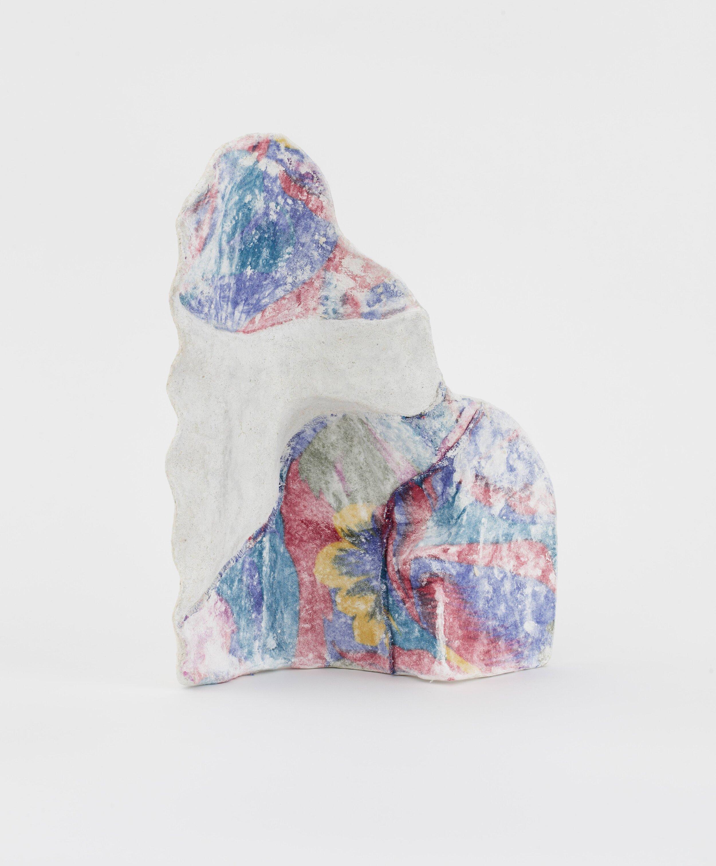 Jennifer Paige Cohen,  Carnation Incantation,  2019. Shirt, plaster, lime plaster, CelluClay. 14.5 x 10.5 x 4.75 inches. 36.8 x 26.7 x 12.1 cm.