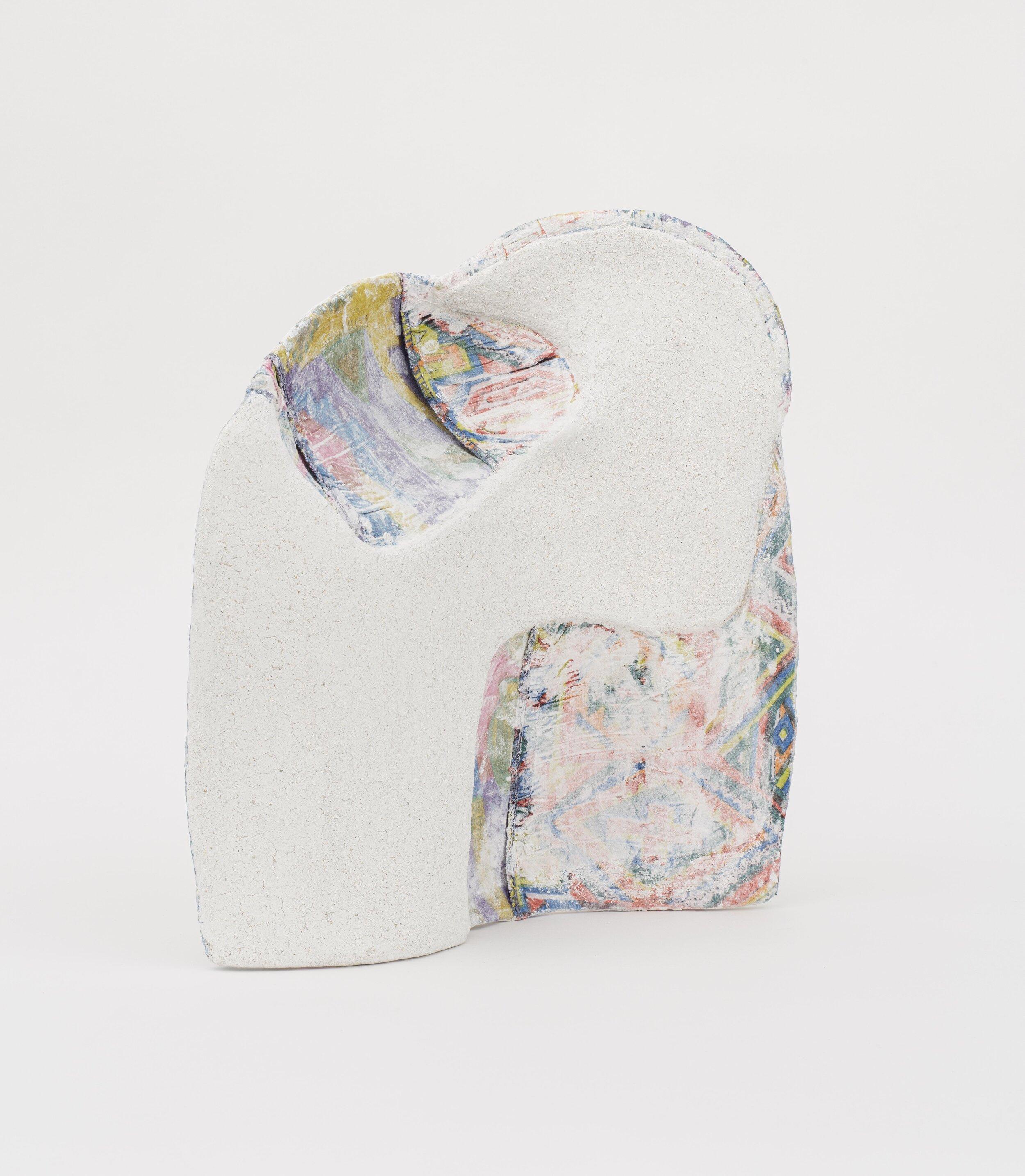 Jennifer Paige Cohen,  Untitled,  2019. Dress, plaster, lime plaster, CelluClay. 12.5 x 10.5 x 6 inches. 31.8 x 26.7 x 15.2 cm.