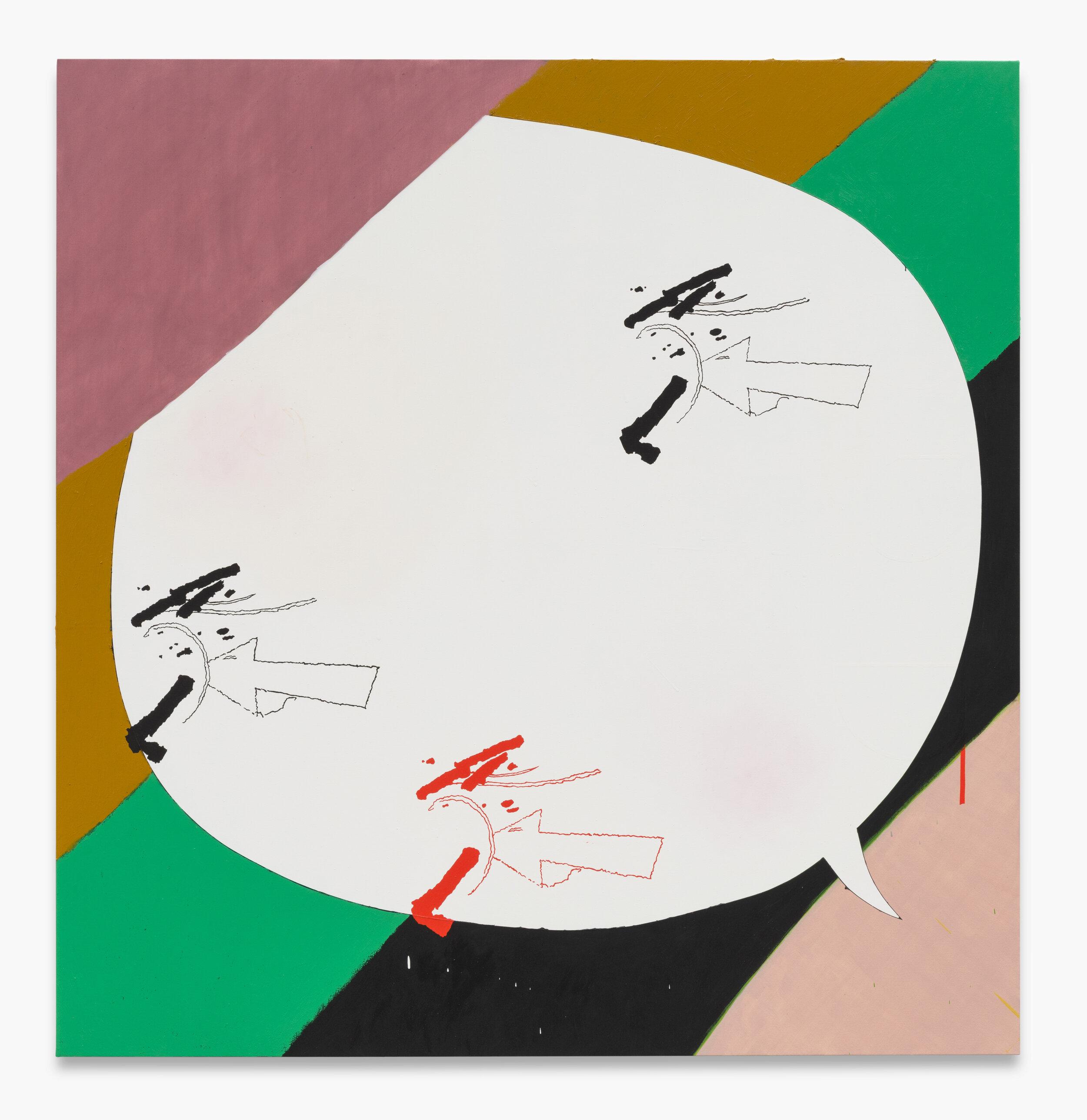 "Allison Miller,  Shell , 2019. Oil, oil stick, acrylic, marble dust, 60 x 58"" 152.4 x 147.3cm"