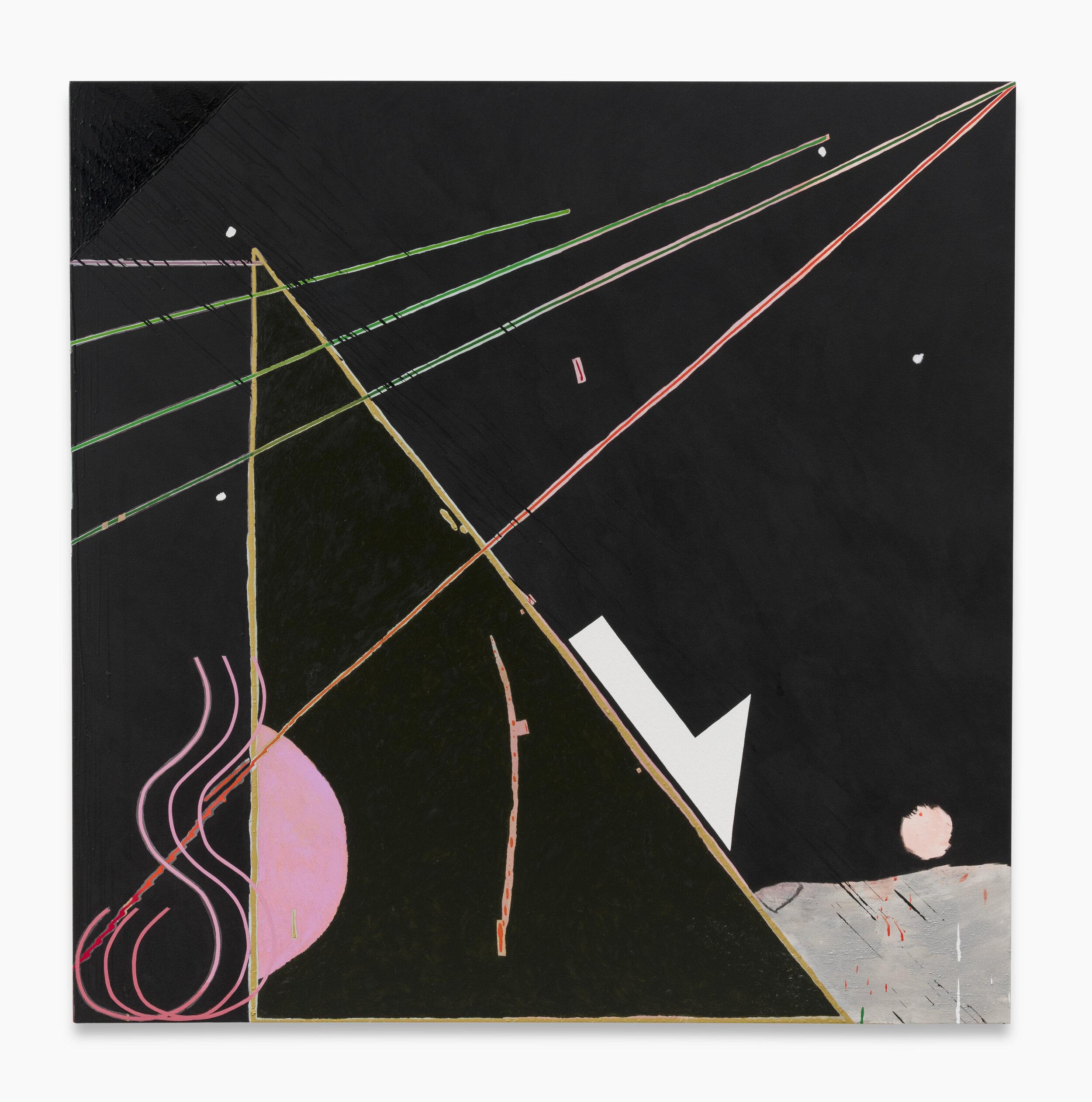 Allison Miller ,   Sister (Gemini),  2019. Oil, oil stick, acrylic, marble dust, 66 x 66 inches, 167.6 x 167.6 cm