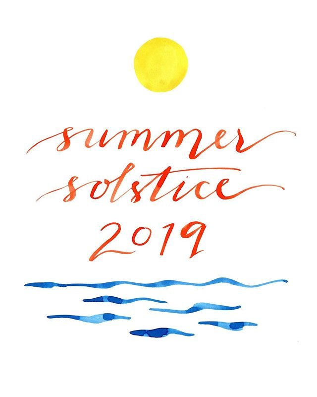 happy #summersolstice everyone! • • • • #summersolstice2019 #summerfridays #illustration #lettering #calligraphy #invitationdesign #eventillustration #watercolor #watercolorillustration #hamptons #shelterisland #longisland #paddleboarding #norwichterrier #selfportrait #dogportrait #seascape #emilybakerstudio