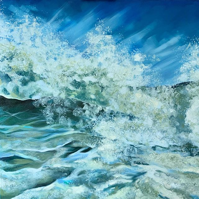 "New oil painting complete! 'Peter's Pond Beach' 30""x30"" • • • #oilpainting #seascape #waterpaintings #wavepainting #spongepainting #wavebreak #seaspray #hamptons #sagaponack #easthampton #southfork #longisland #outeast #artistsoninstagram #emilybakerstudio"