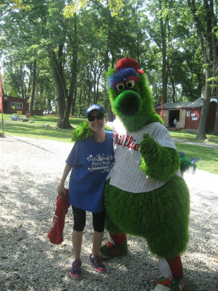 Lisa Kasser, the Director, Owner and Founder of Burn Brae Day Camp of Creative Arts and the Philly Phanatic!