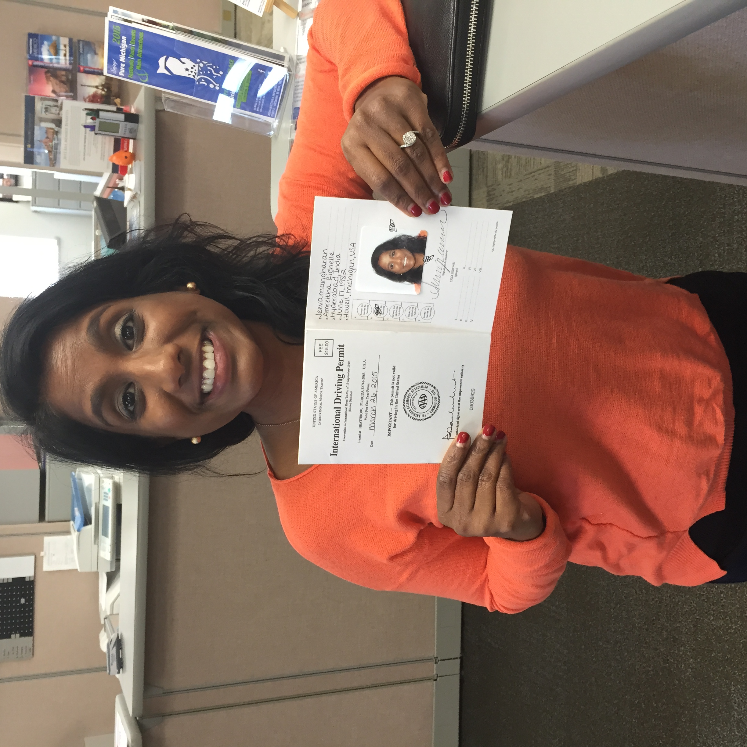 Amreitha successfully obtaining her international driver's license before leaving for Cambodia this week.