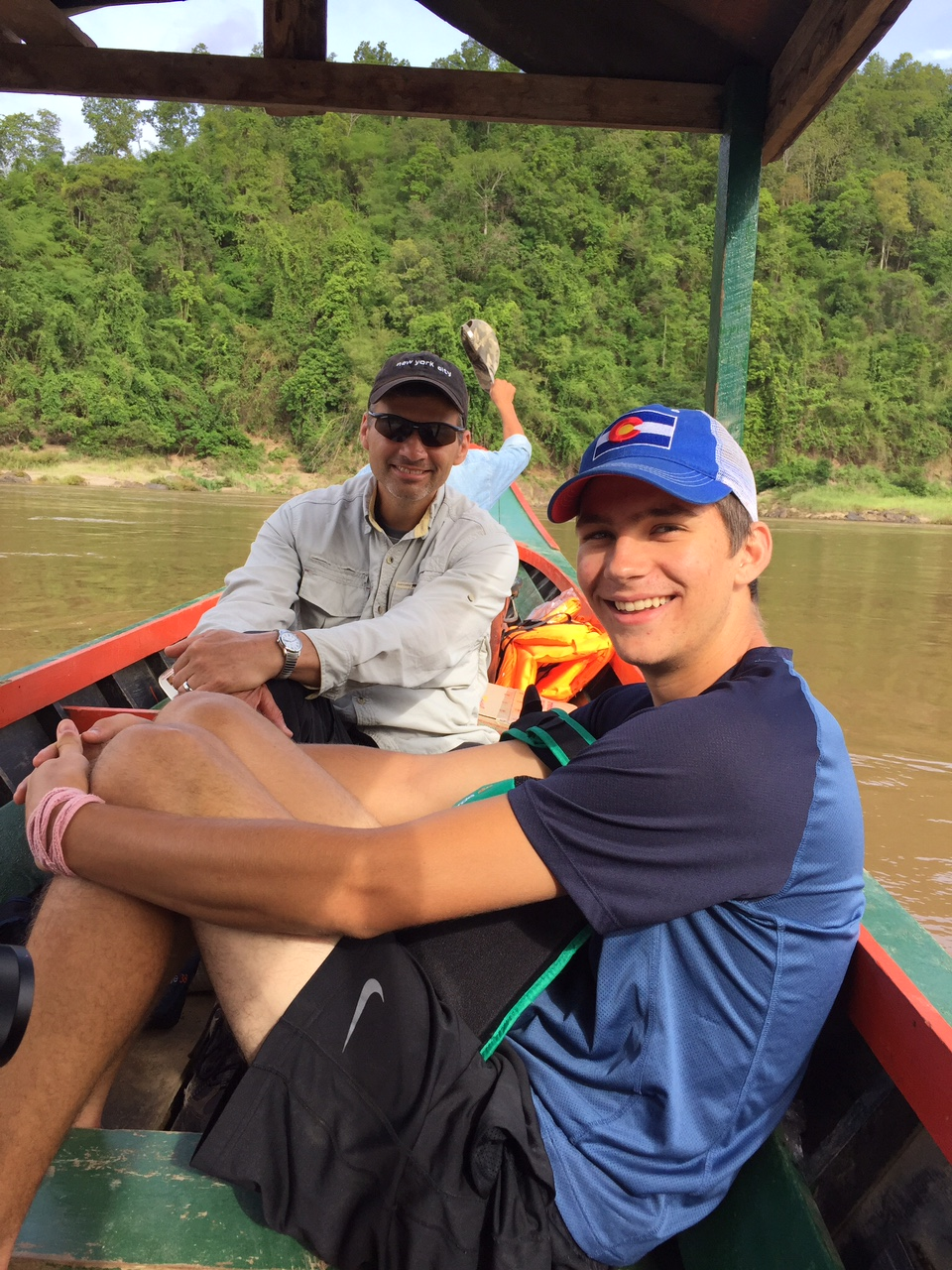 Todd and Zach in the boat to Burma