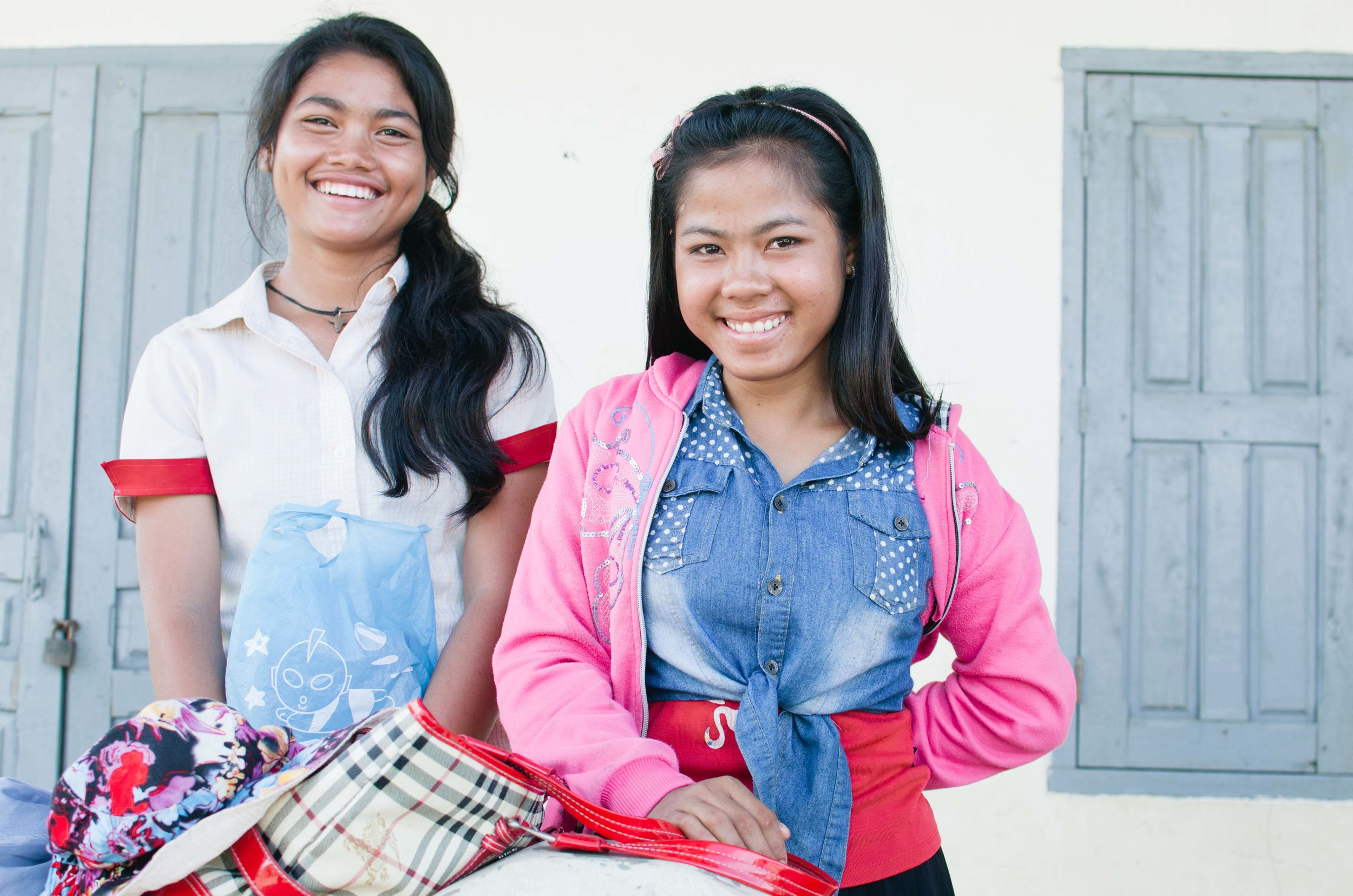 Srey Mom is on the left, and is pictured with Volek, another young woman in the program.