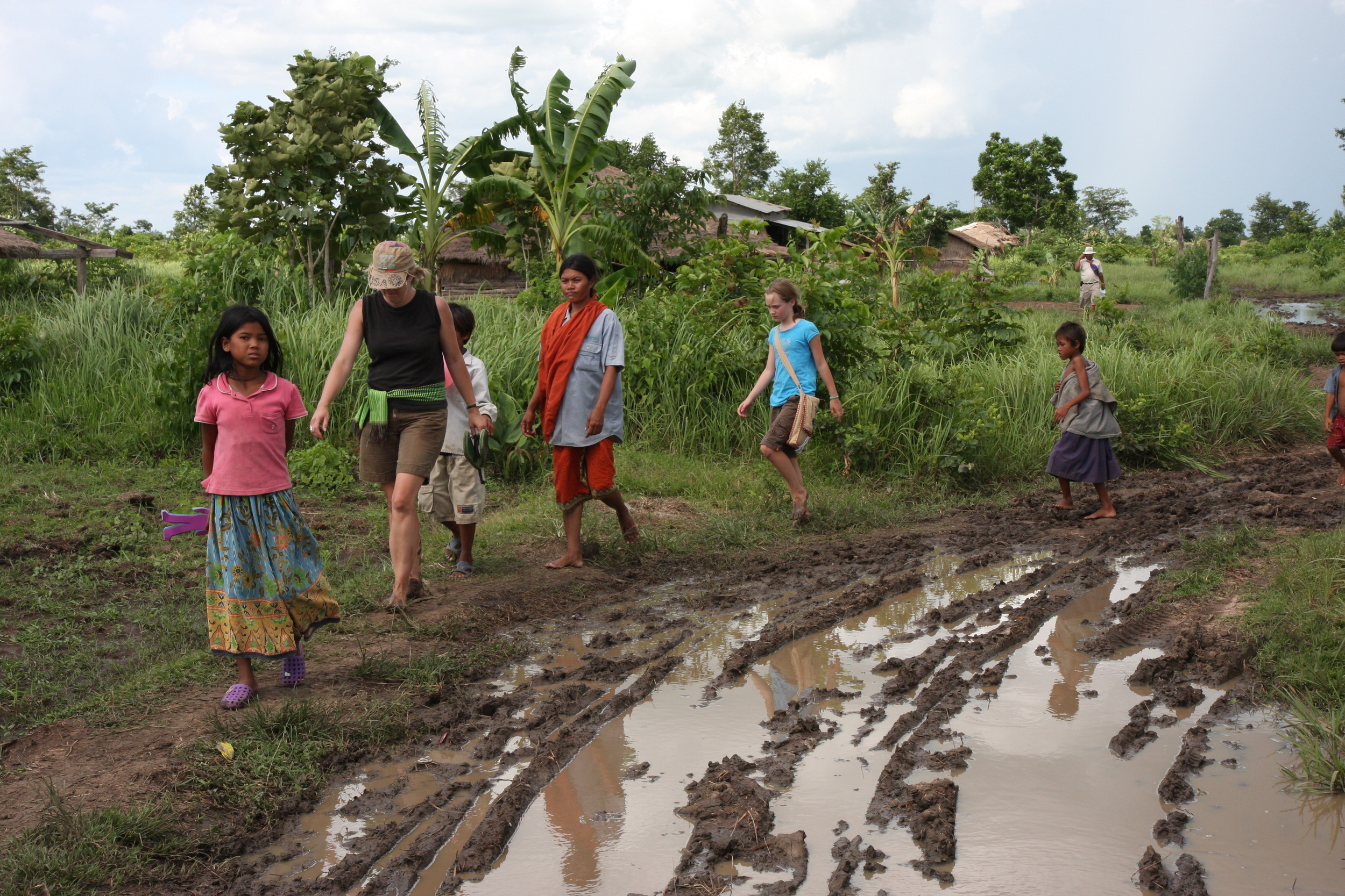 On the muddy road into the MineField Village for the first time ever.