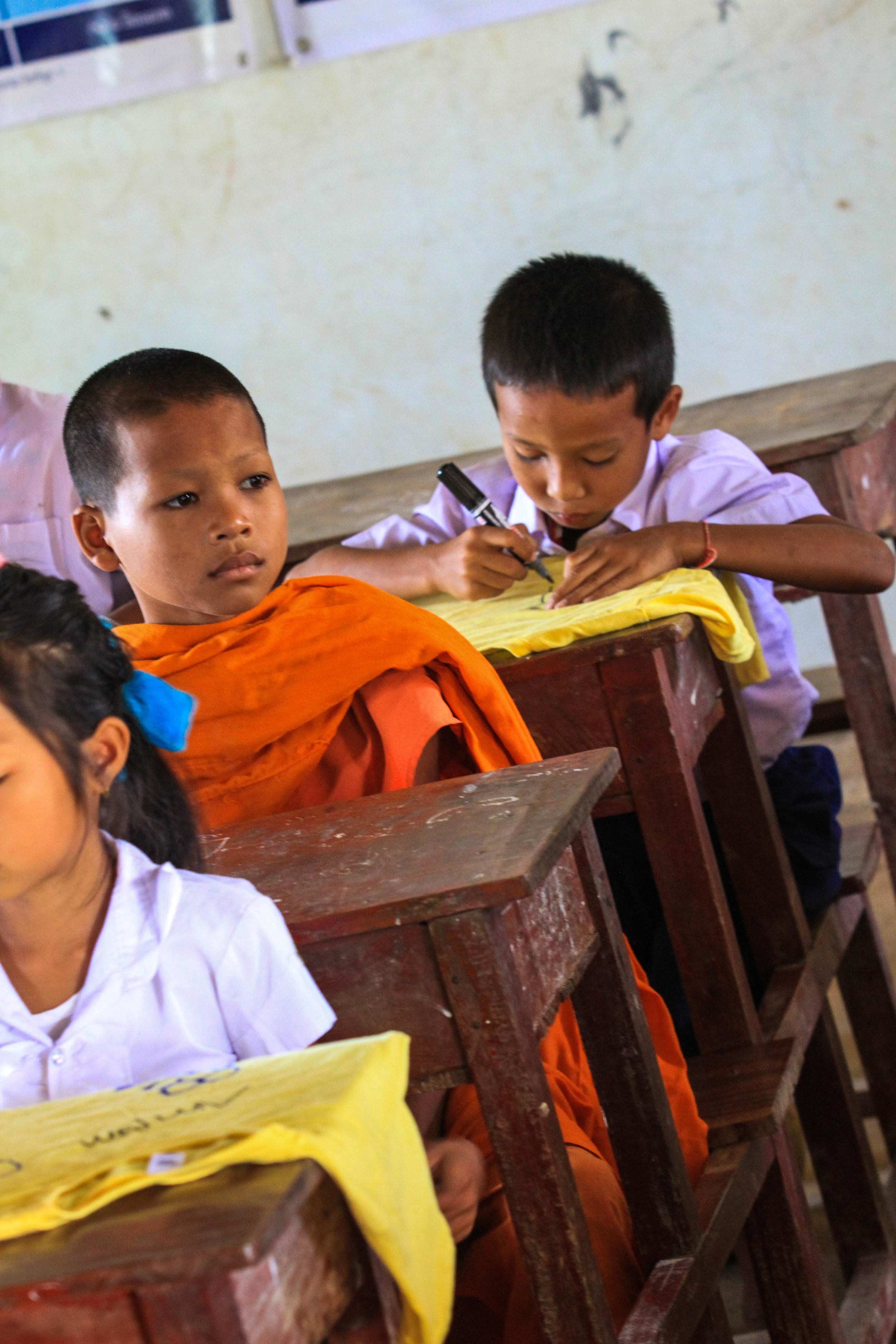 One of the boy monks was in class the first day. I prayed often for him as he wasn't allowed to participate in the Bible school activities.