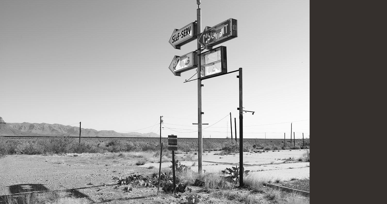 Signage Abandoned Gas Station, Van Horn, TX