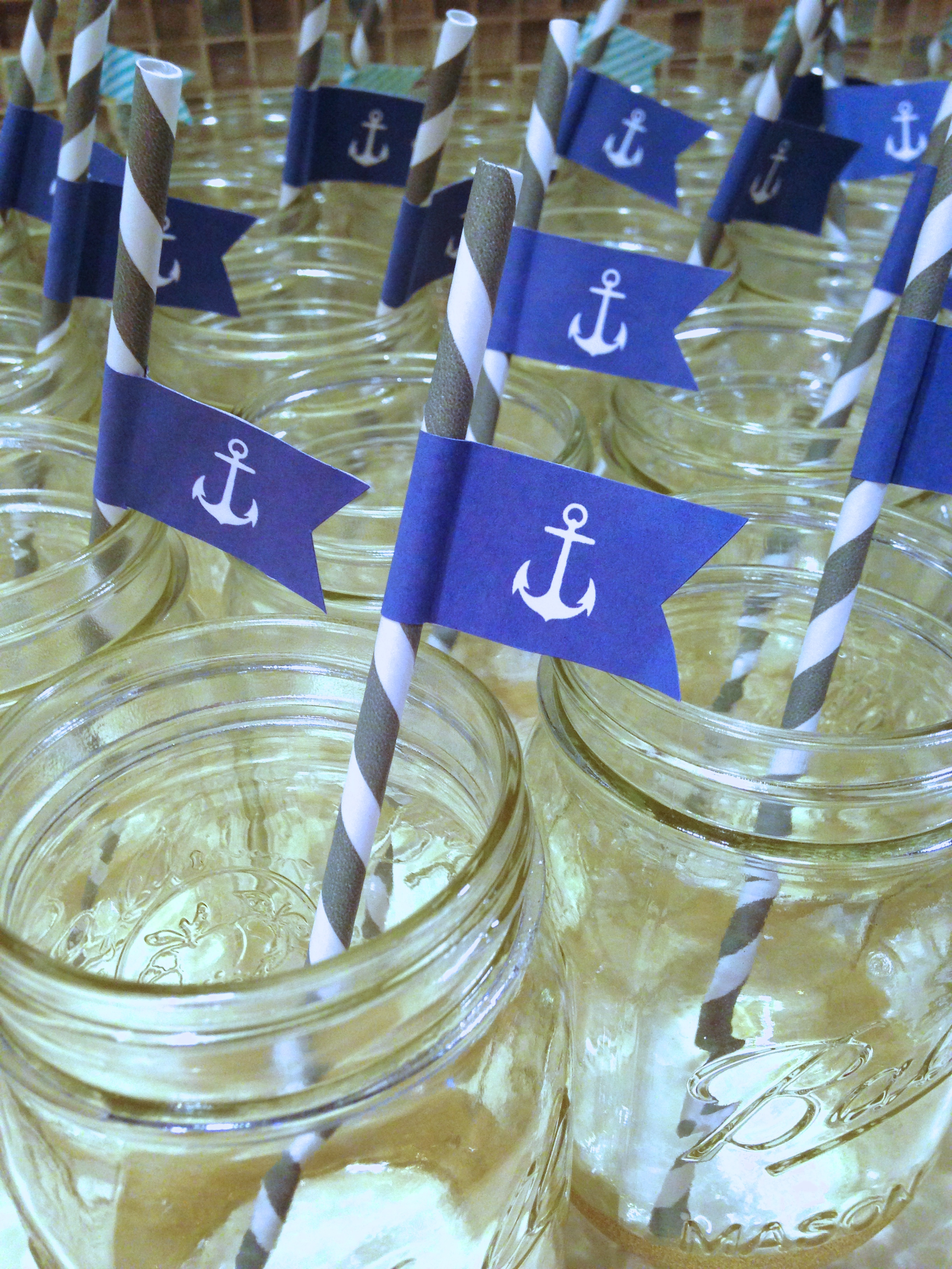 paper straws + custom anchor flags