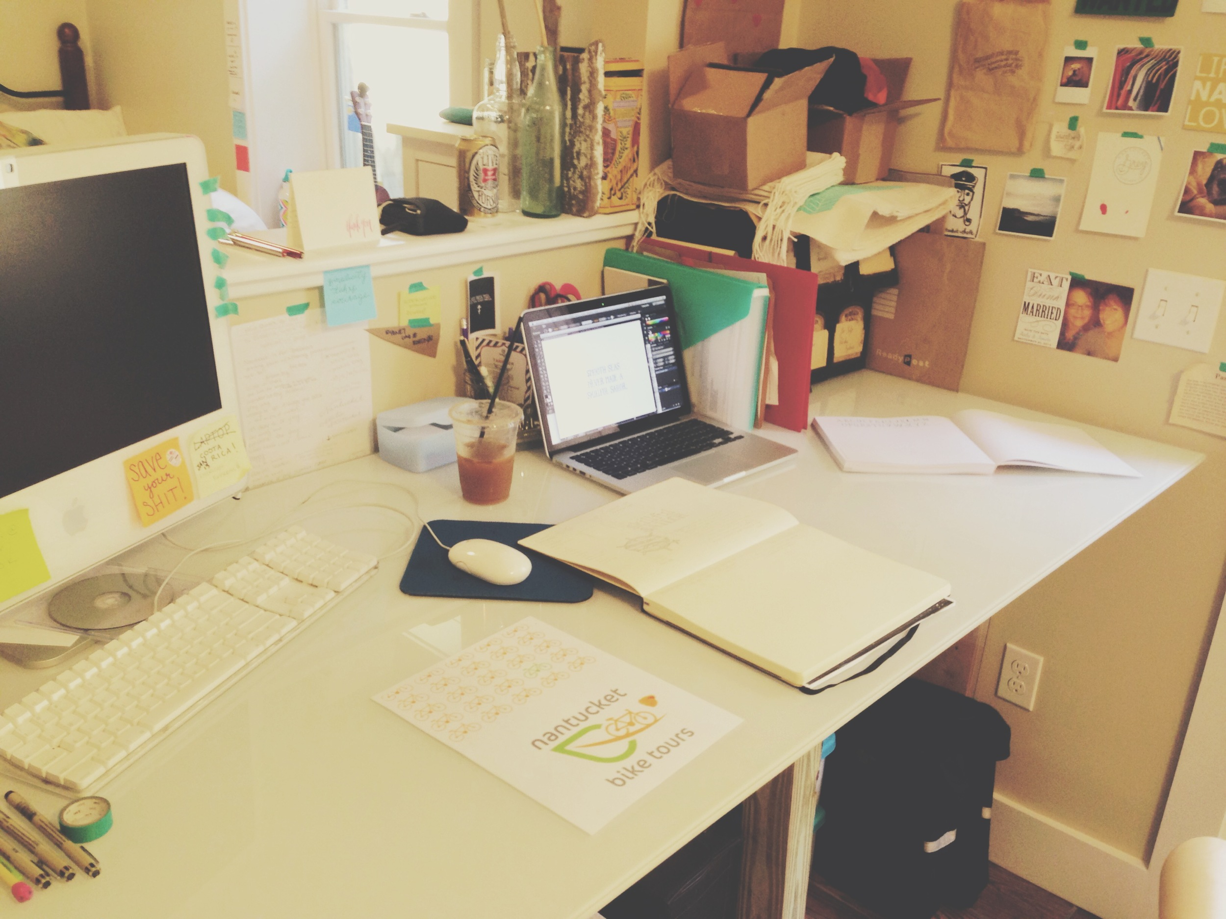 My messy creative space with inspiration wall and projects I'm working on.