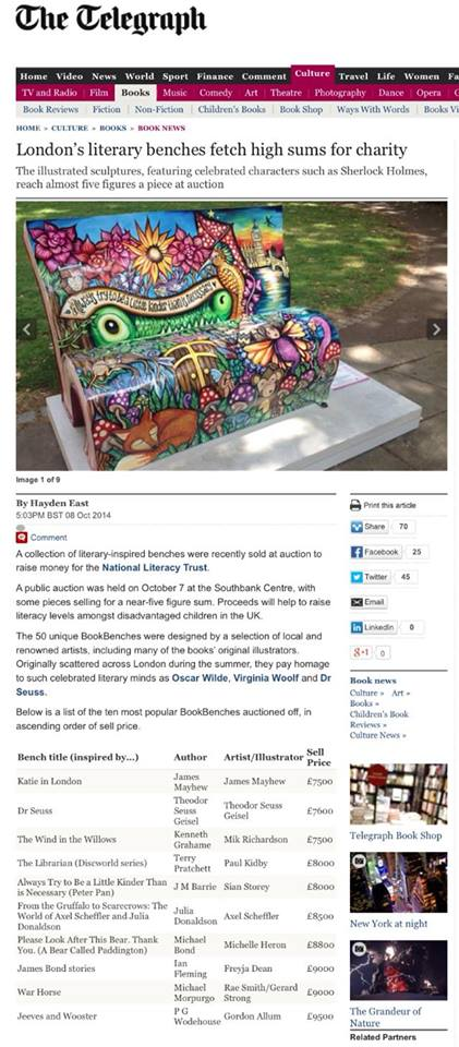 Here's my bench and name featured on The Telegraph website!  Very proud!