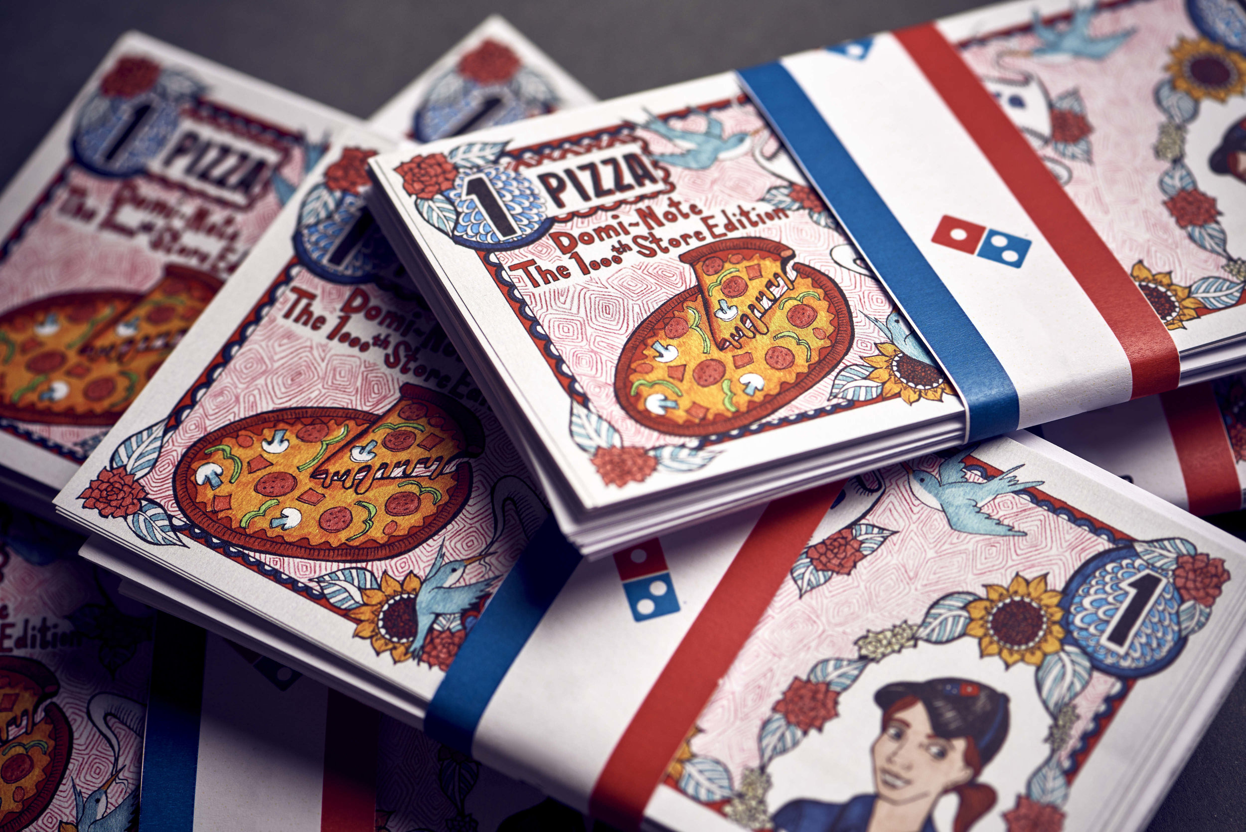 100 Domin-notes were hidden around Overton Hampshire. Lucky finders received a free pizza.