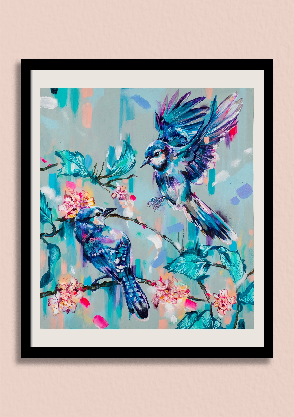 EACH NEW DAY - This blue jay artwork captures the freshness of a dew sprinkled morning.Unframed giclée print £150Framed giclée print £220