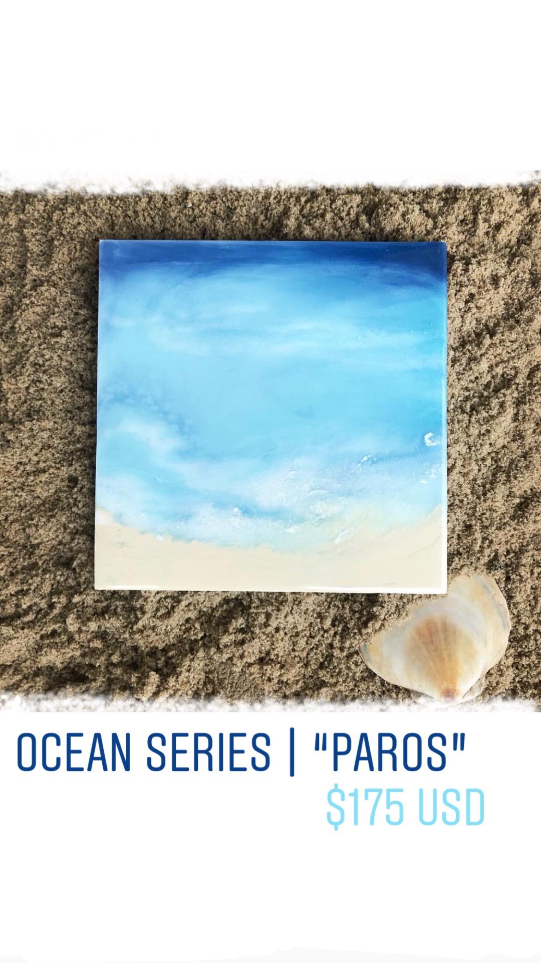 "Paros    Original Artwork  Mixed Media  8""x 8"" x 1"""