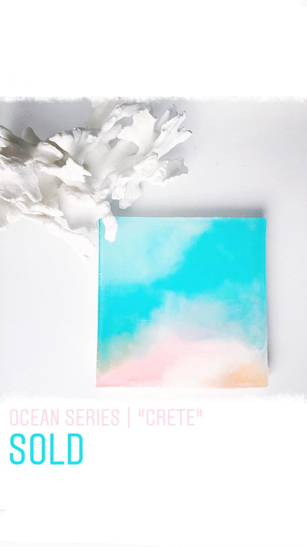 "Crete   Original Artwork  Mixed Media  8""x 8"" x 1"""