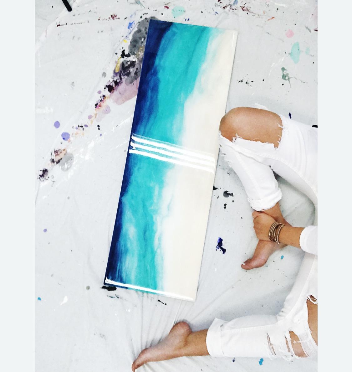 """Capri   Original Artwork  Mixed Media  36""""x 12"""" x .5"""""""