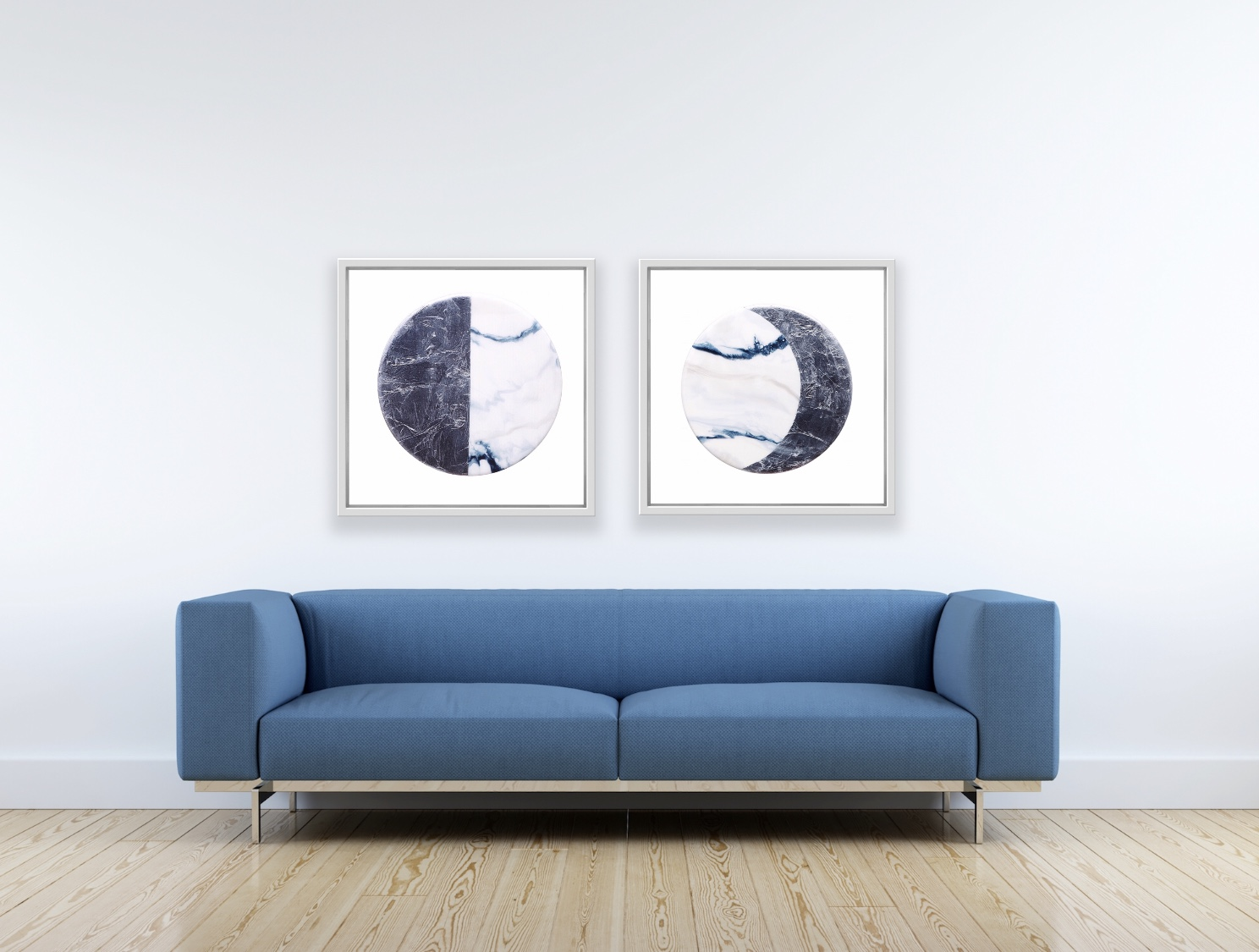 Half Moon & Crescent Moon  Winter Moon Phase Series