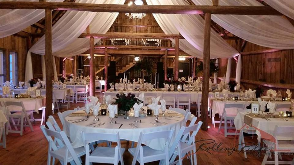 Ceiling Draping by Geyer Wedding & Event Rentals at Rolling Ridge Wedding & Event Center