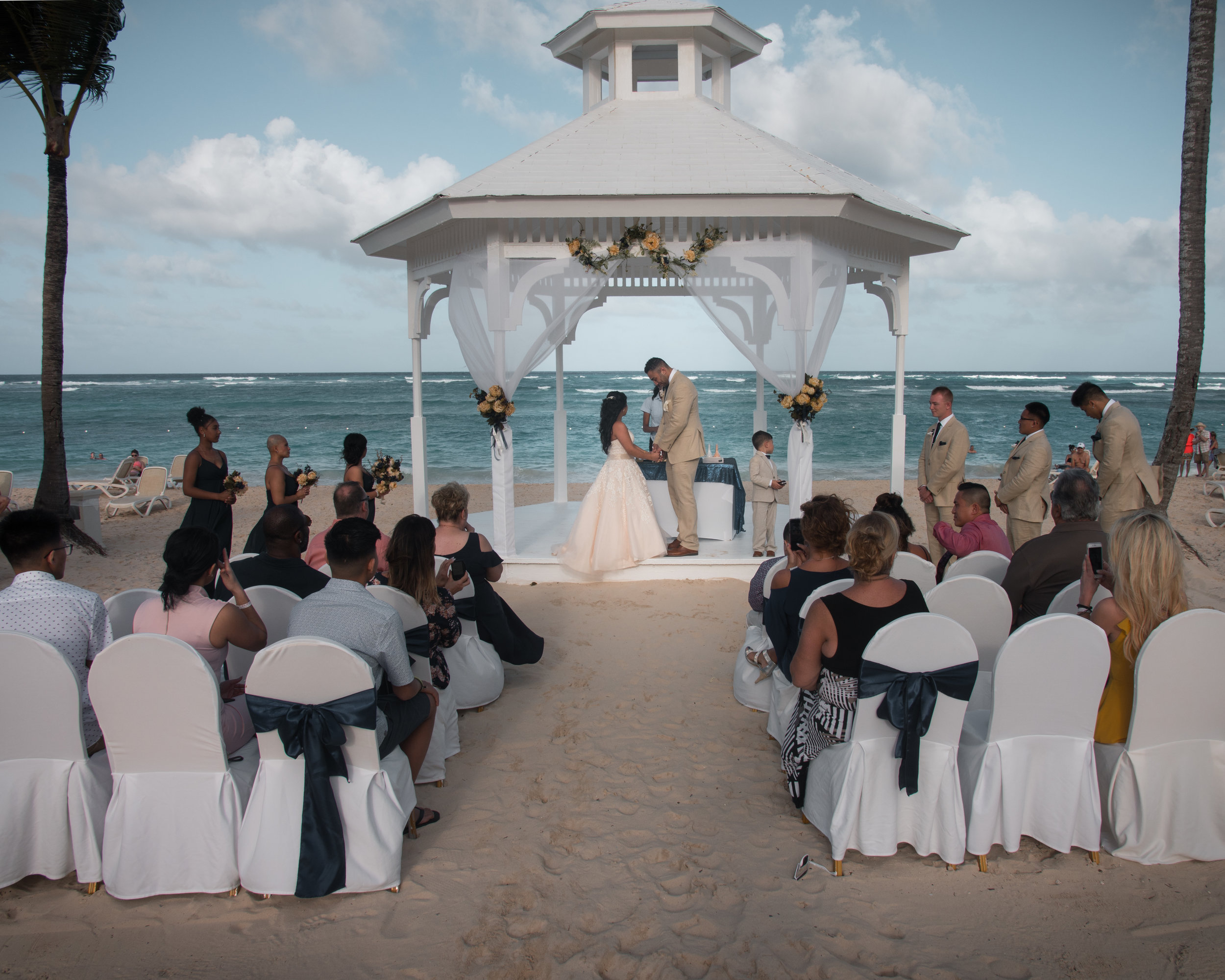 Beautiful Beach Ceremony at the Majestic Elegance resort in the Punta Cana Dominican Republic