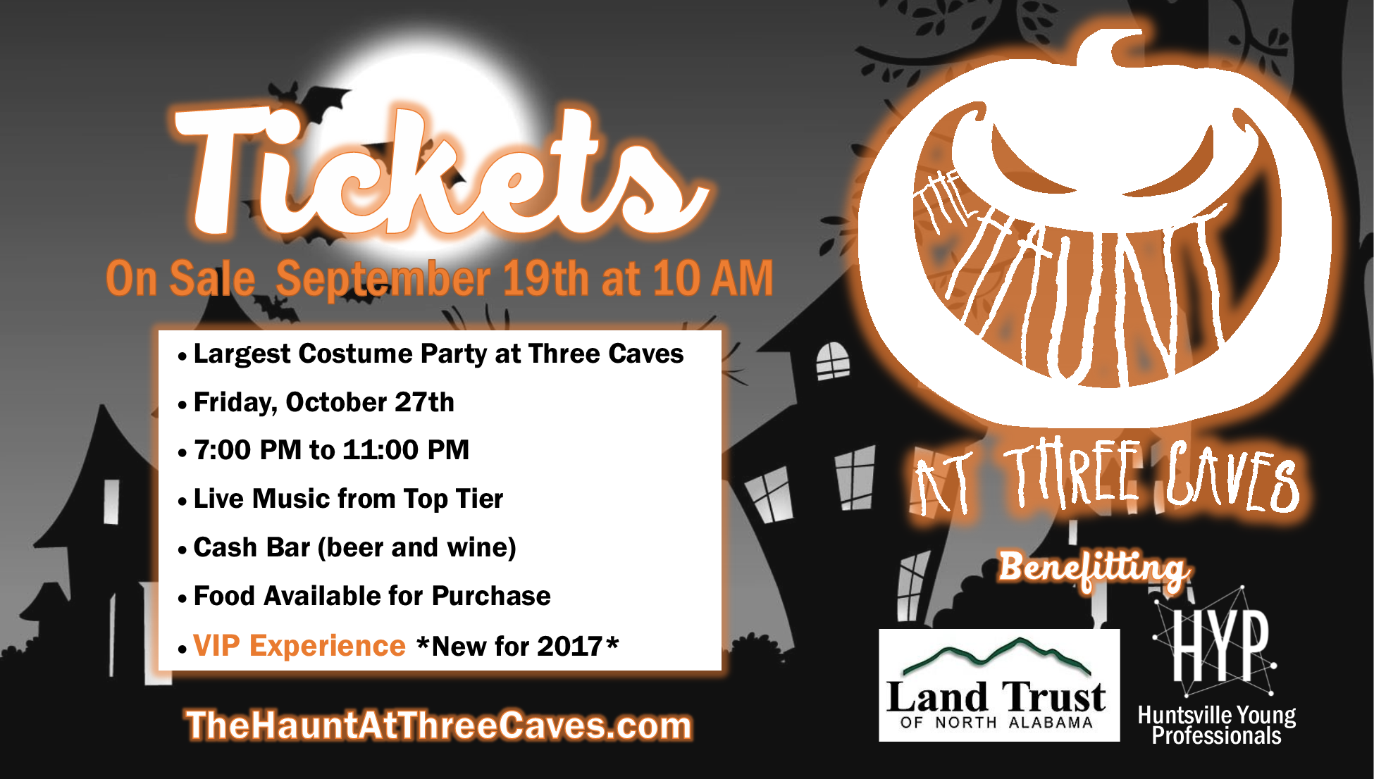 Visit  www.TheHauntAtThreeCaves.com  to learn more.
