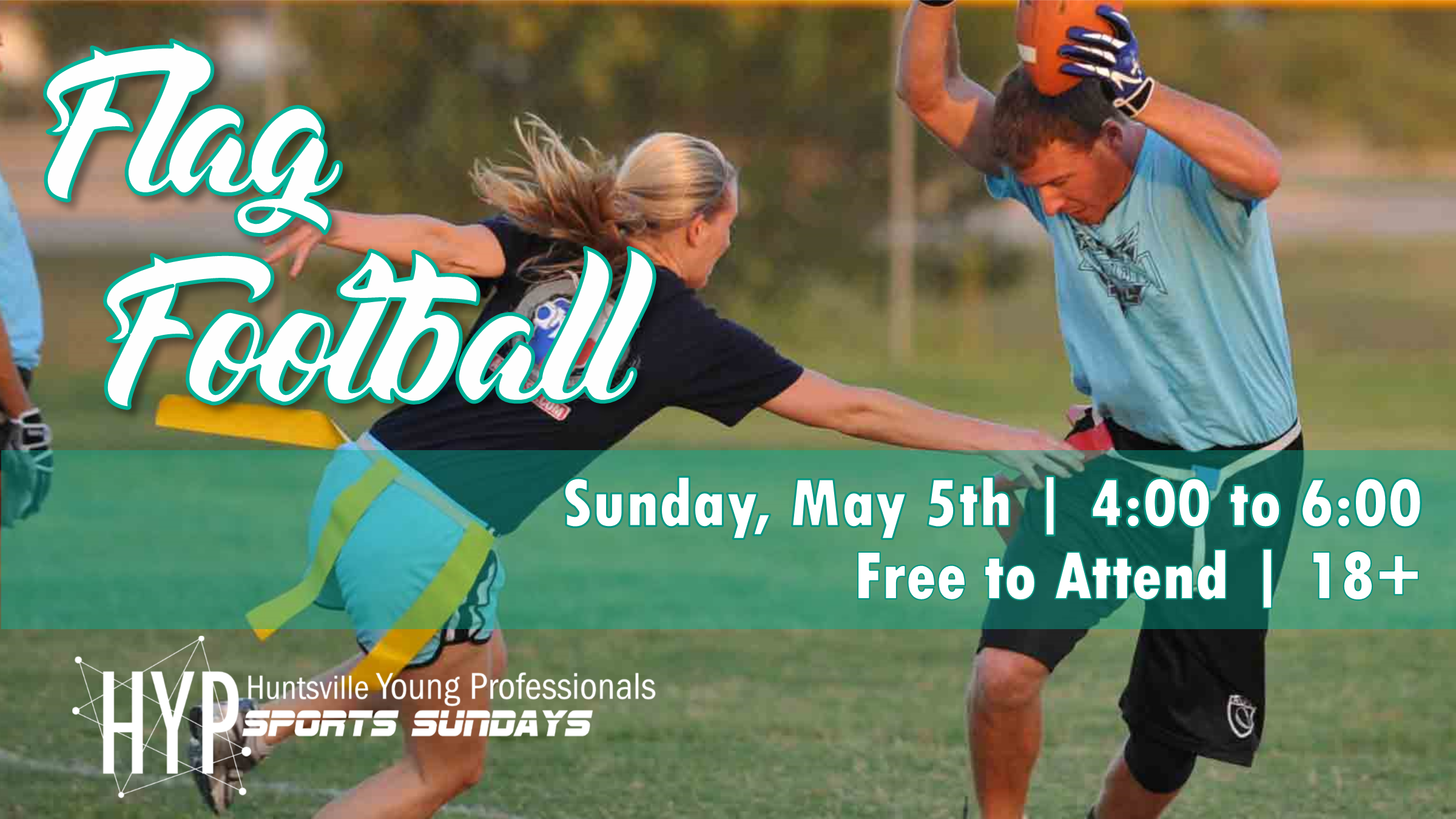 Sports Sundays is back for the third year! The first sport up is flag football. We will be meeting on May 5th, 2019 from 4:00 pm to 6:00 pm. Be sure to join the Facebook  Event  to stay up to date.