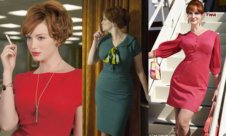 """Joan Halloway. The absolute baddest bitch to ever grace our tv screens. She oozed sex appeal and sass. Even in her conservative dresses she couldn't hide her dominating aura or those voluptuous """"hillsides"""" as Roger would say. Joan covered up in bold business wear, richly colored and with minimal accessories. She wanted to seen as more than a """"whole lot of woman"""" in this man's world. Joan was the backbone of the office, and she scratched her way to the top, with razor sharp claws that always matched her lipstick. In 2017 Joan could be seen in wiggle dresses and a-line pants,powerful silhouettes. She'd still be rocking those bold one-piece outfits, like an off-the-shoulder jumpsuit or a solid fuchsia dress with stylized sleeves. Joan always has, and always will, dress to stand out and stand tall."""