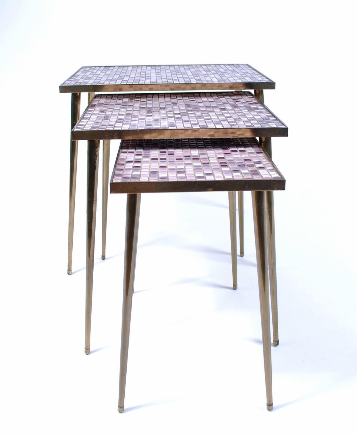 Set of 3 mosaic and brass tables 50's