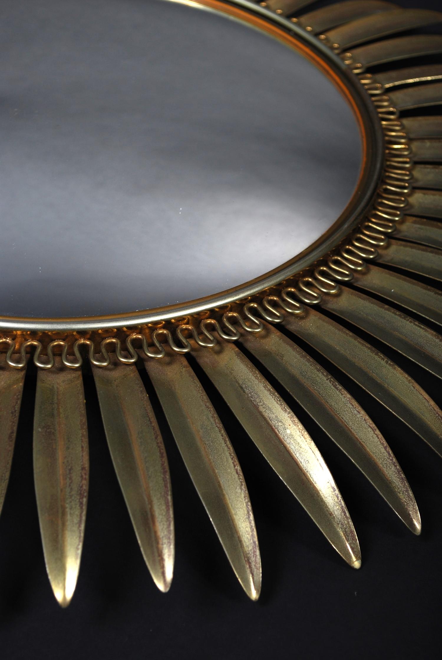 Mirror Sun, convex brass, 50's  - AVAILABLE