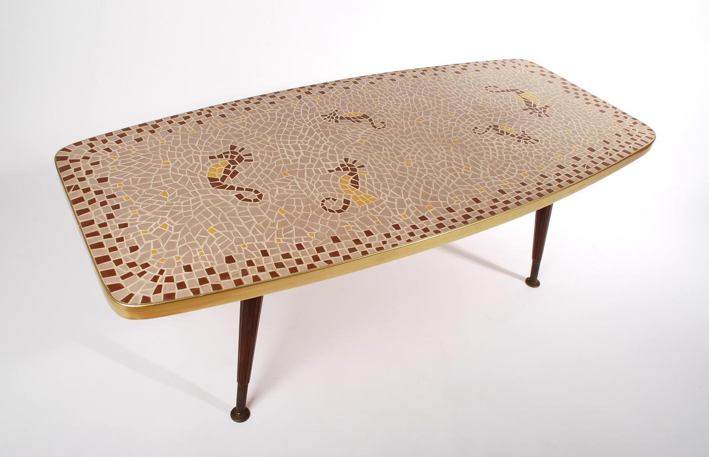 Mosaic coffee table Seahorses 50's