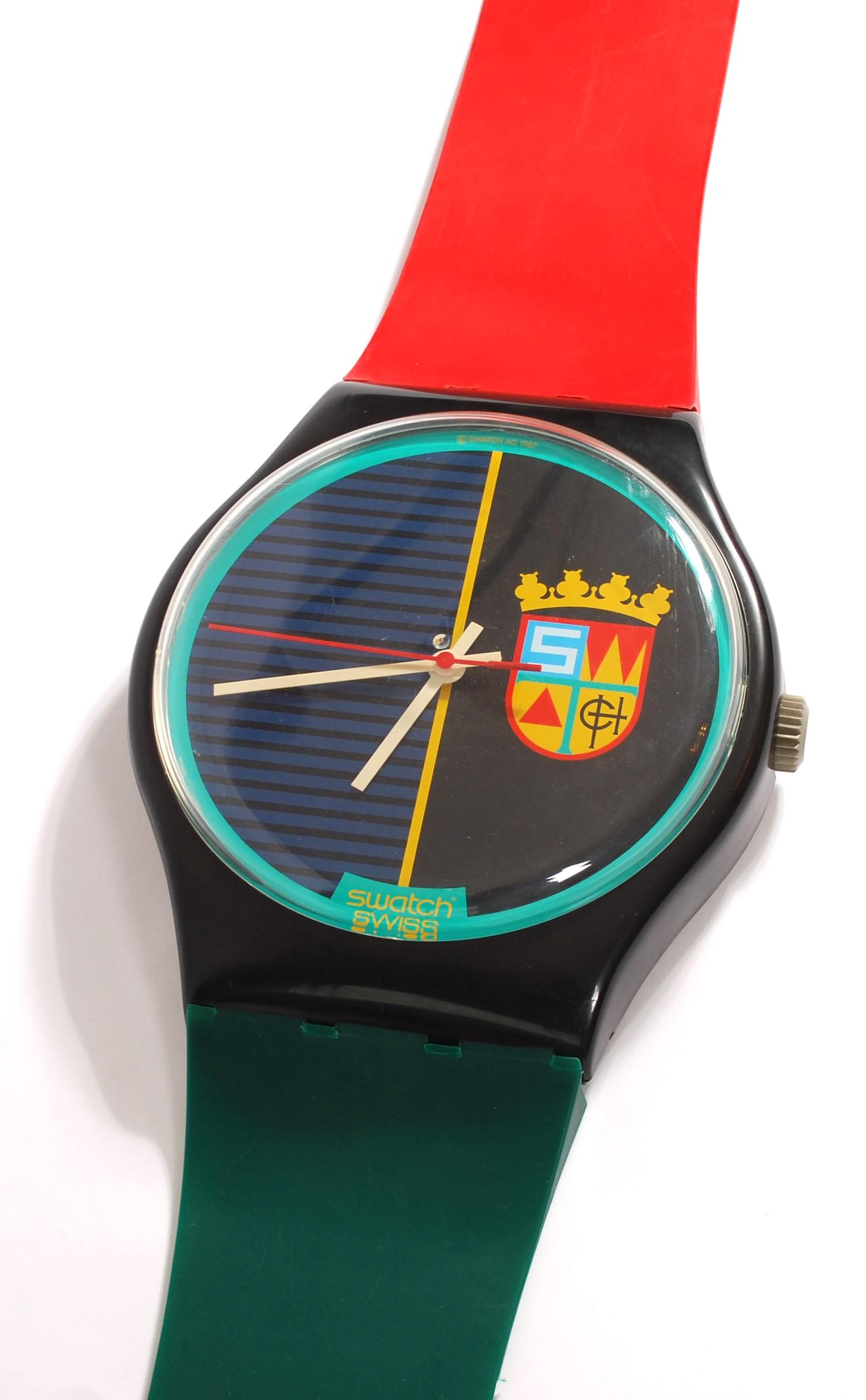 Maxi Swatch wall clock, 1987 'Sir Swatch' MGB111