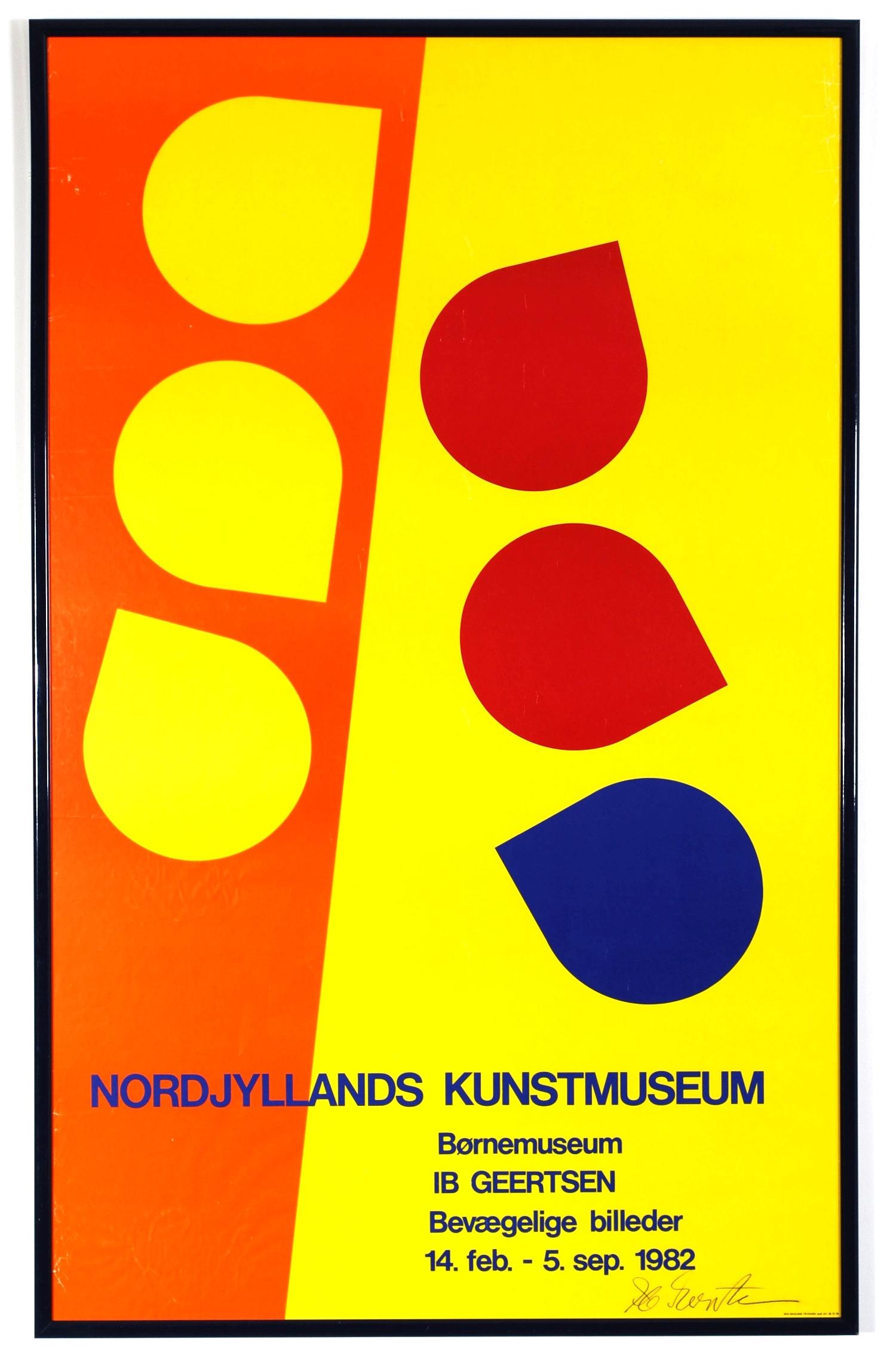 Original poster Ib Geersten - Bevaegelige billeder - Nordjyllands Kunstmuseum - Aalborg Denmark - (signed by author) 1982 framed