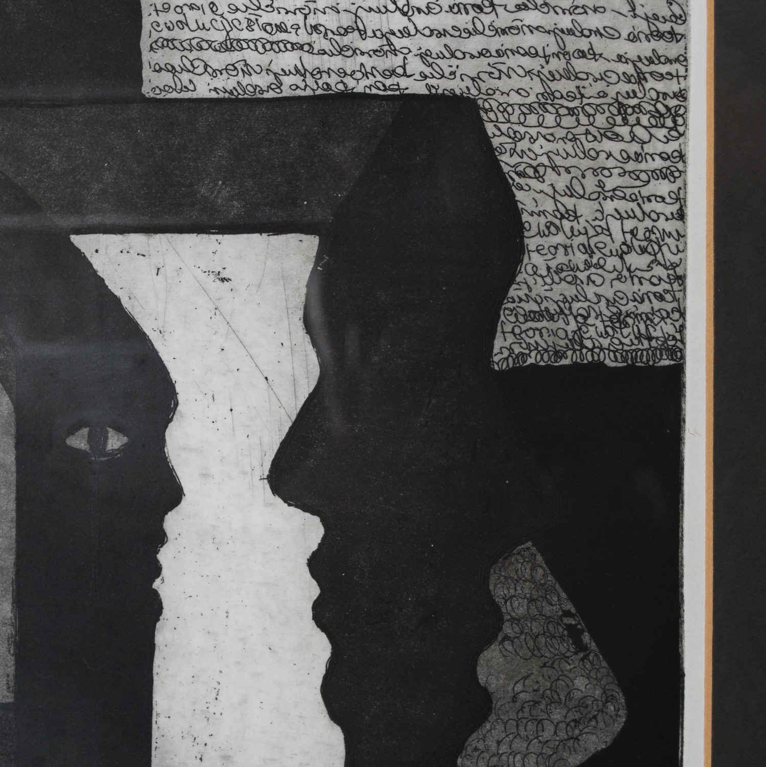 'The Theory of Human Evolution' Anna Stosik 1999, graphics technique Aquatint and Etching, signed, framed