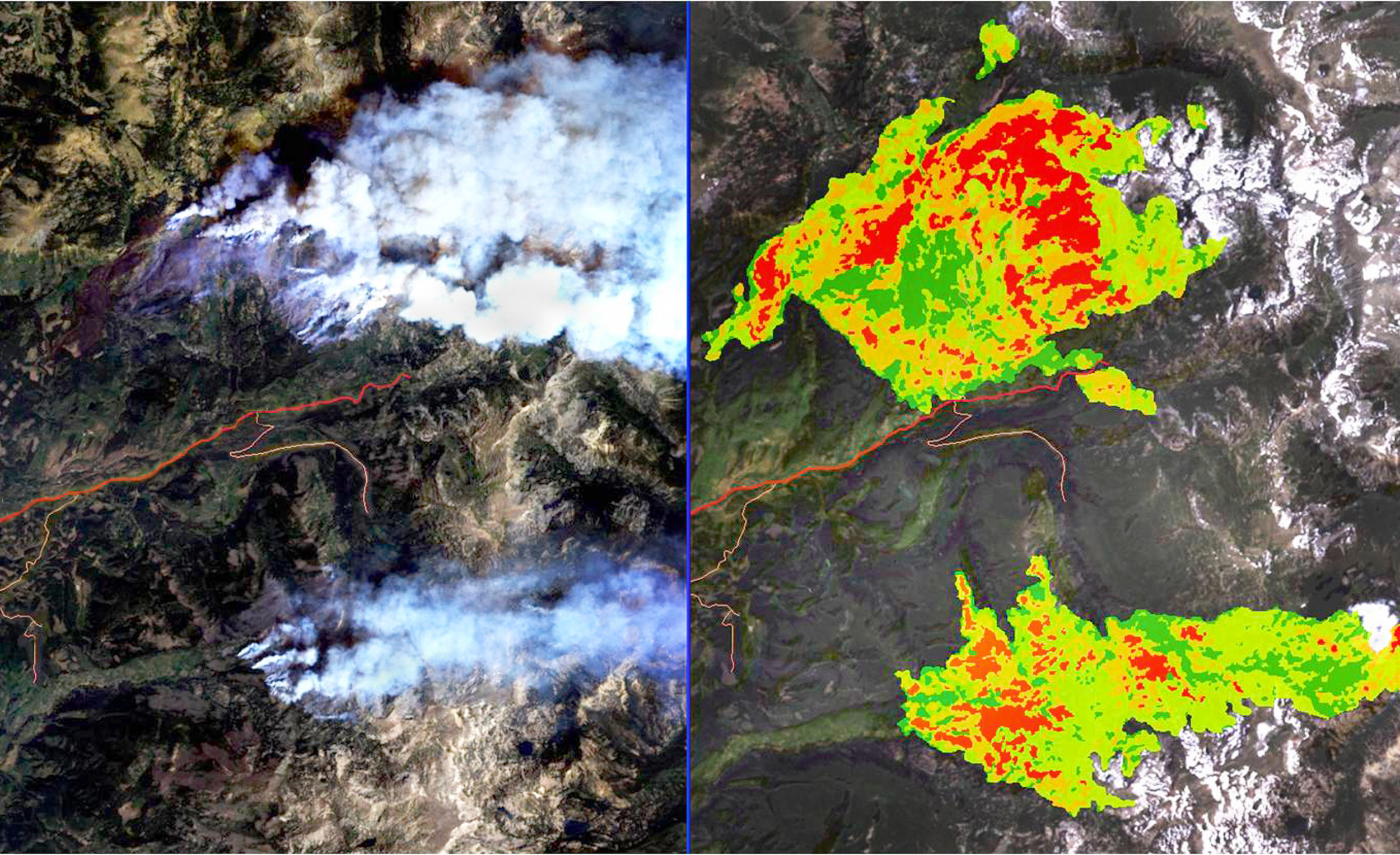 The 2002 Hinman fire burning (left) and the resultant fire severity (red high, green low)