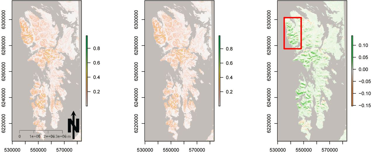 Landslide susceptibility if you consider wind disturbances and cedar decline as interacting factors (left), if you don't (middle), and the difference (right). Scale goes from 0 (no chance) to 1 (100% probability). From Buma and Johnson (2015). A scaled up version of this analysis was used to map cumulative, regional exposure to landslides and wind and tie those results to regional carbon balance.