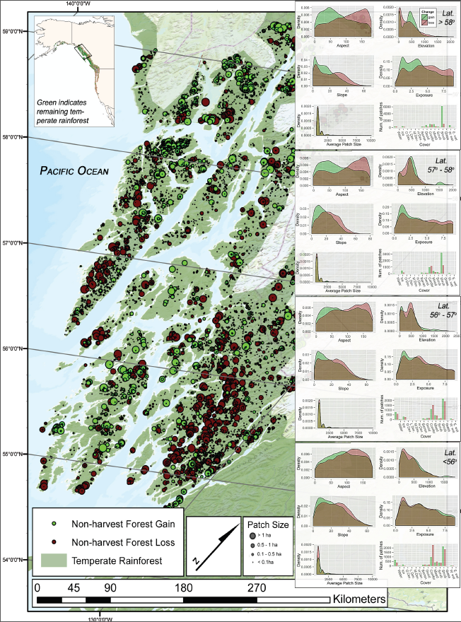 Patterns of disturbance in unmanaged southeast Alaskan forests over the last decade.