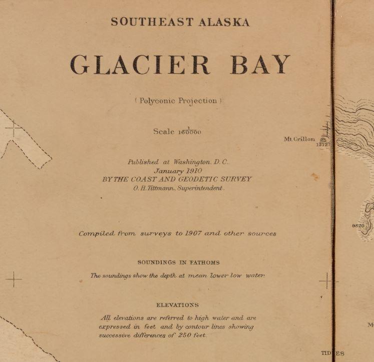 The original map Cooper took to Glacier Bay in 1916