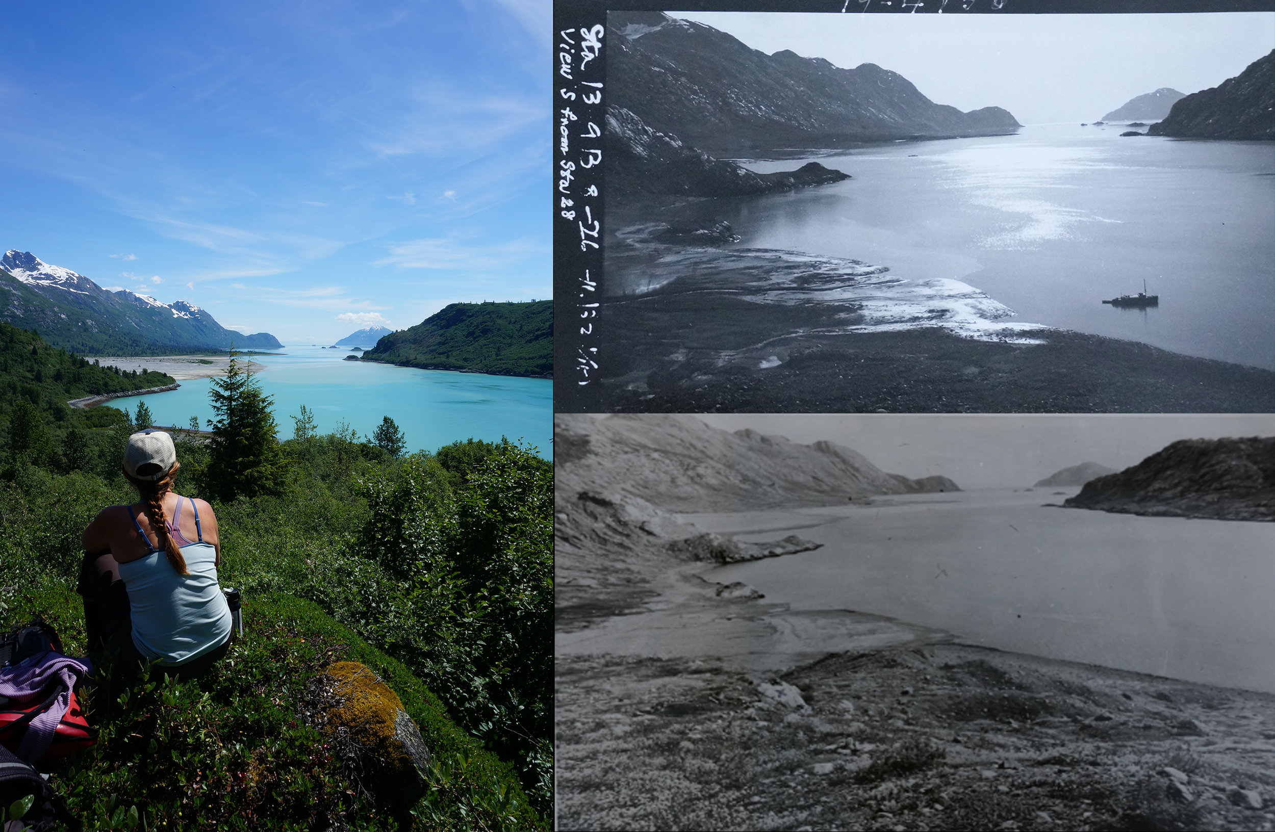 Dr. Sarah Bisbing sits on Arrow Rock, one of the key navigational points from 1916.  Comparative images from 1926 (top right) and 1941 (likely) are shown.  Interesting factoid - the modern 2016 picture has >3000 people in it.  Look close and you can see a cruise ship in the background, a very different reality from what Cooper found in 1916.  Also, note how different the alluvial fan in the background is.  The photos are from the same location, but in 1926 the fan was much, much smaller (and in 1941).  That isn't tidal.  It's a combination of the fan growing (it's quite shallow right off the edge, makes for some interesting kayaking) and isostatic rebound, which is very rapid in this portion of the bay.
