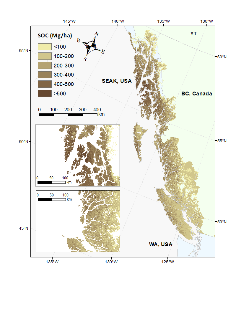 Soil organic carbon stock predictions to 1 m (Mg C ha-1) at 90.5 m resolution for small NPCTR watersheds across BC and SE Alaska.