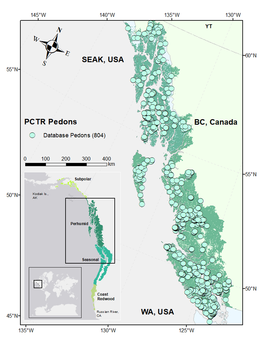 One of the truly big tasks was unifying the regional dataset, and perhaps the most work. Above is the extent of the NPCTR displaying the distribution of soil profile descriptions (light green circles) and the study extent (dark green pixels) used in the SOC stock assessment. Inset maps show global (small) and continental (large) extent of the full NPCTR along with the boundaries of climatic sub-regions.