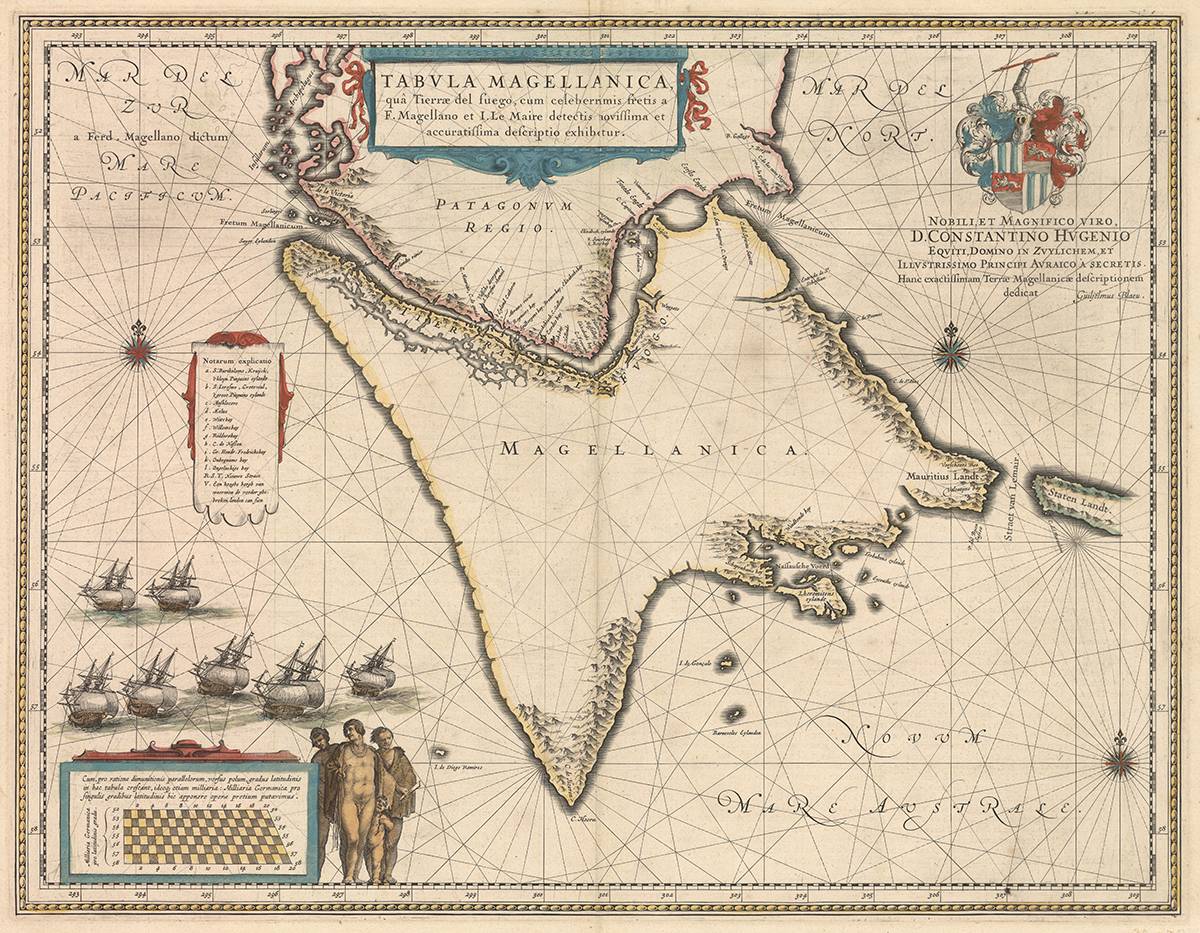 One of the first maps to show Tierra del Fuego as its region, separate from the mainland.  This was after the Horn (really, the Hoorn due to the Dutchmen that named it) was doubled for the first time, but prior to several other exploratory firsts including the Falklands being completely described.