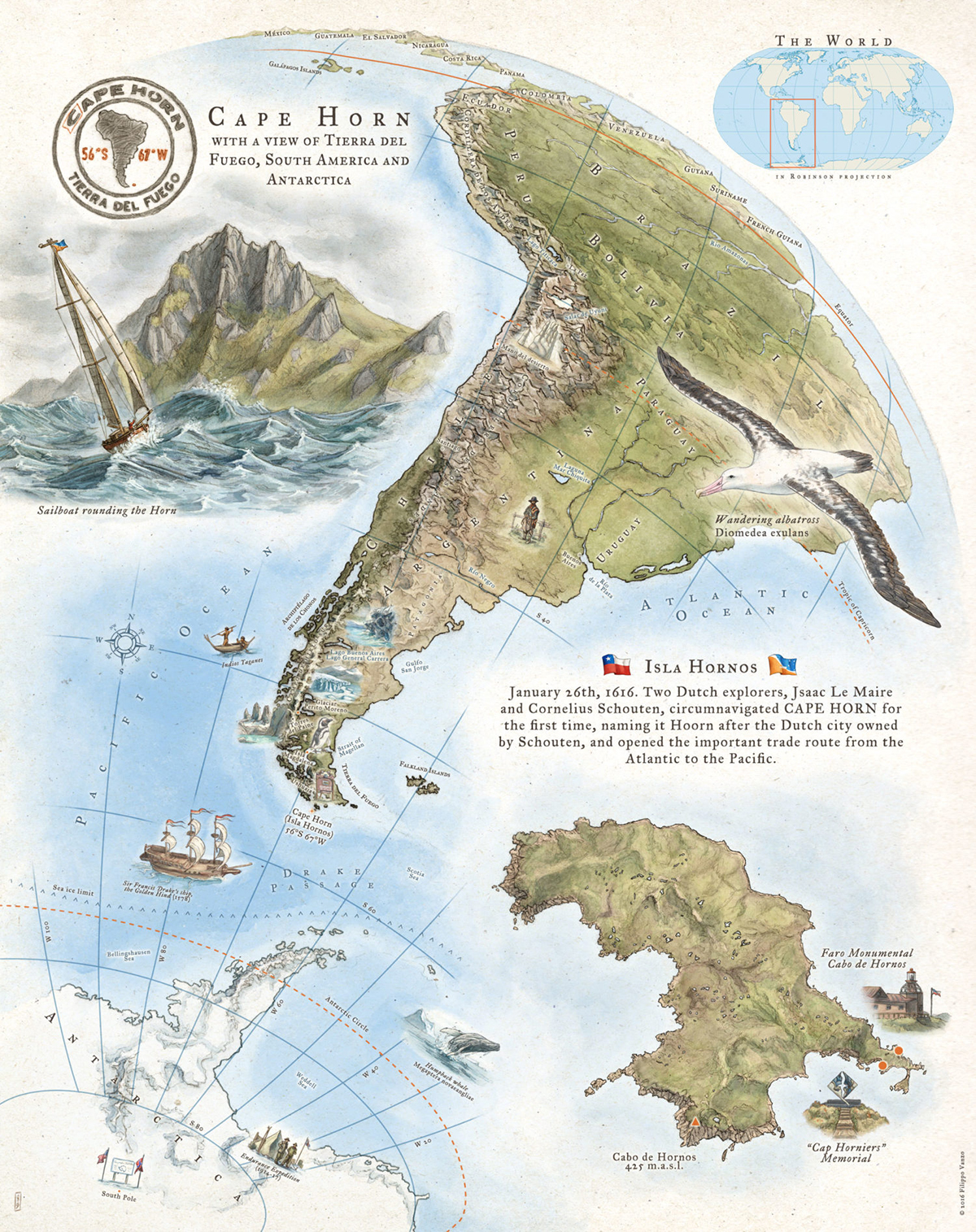 A gorgeous sketch map of Isla Hornos and Cabo de Hornos, edging into the Drake Passage and the goal of the expedition. For more amazing versions, see http://onezillustration.com/projects/