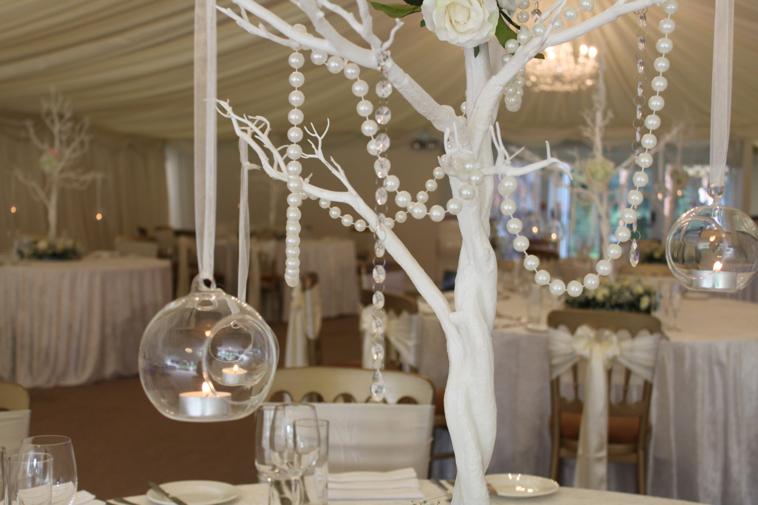 Manzanita - Our 1 metre tall white manzanita trees can be decorated to your preferred style using hanging lanterns, pearls and crystals these centrepieces really enhance a venue. A popular choice for autumn and winter events.Hire from only £20 each or 10 for £150!