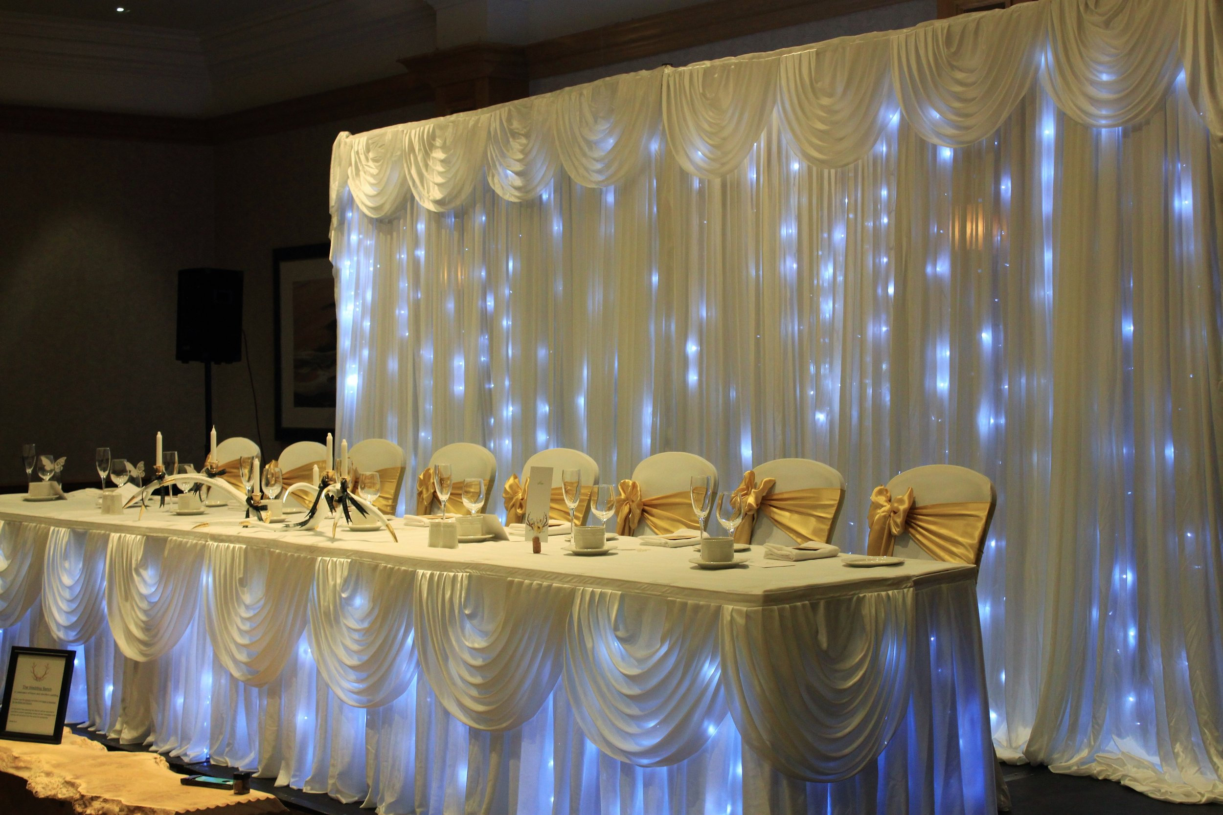 Backdrops - Our luxury satin backdrop pipe and drape system comes in 3m sections and can also cover large wall areas up to an impressive 24m and 4m high, complete with swags.Hire 3m for £150, 6m for £200, simply add 3m sections at £50 each for larger areas.