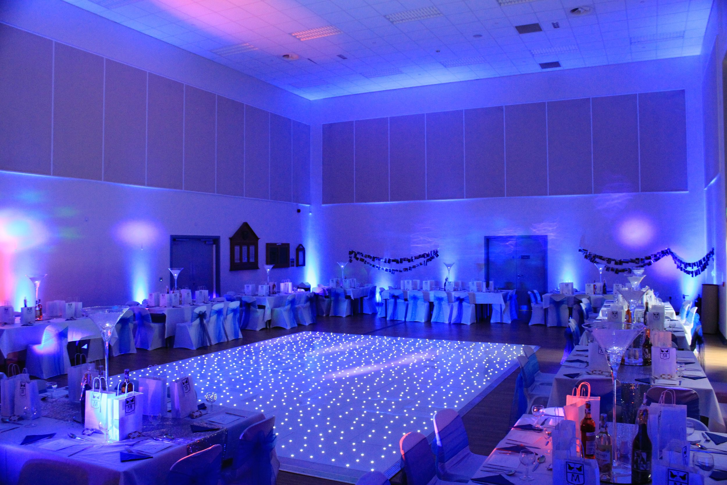 Mood Lighting - We can transform any room or venue with our state of the art LED uplighters. We can colour co-ordinate to suit your theme and leave your guests amazed at the display of powerful colour. Easily the most cost effective way to transform a venue.Hire for only £20 each, £90 for 5, £170 for 10 or £300 for a huge package of 20! We can also supply outdoor mood lighting and disco lighting.